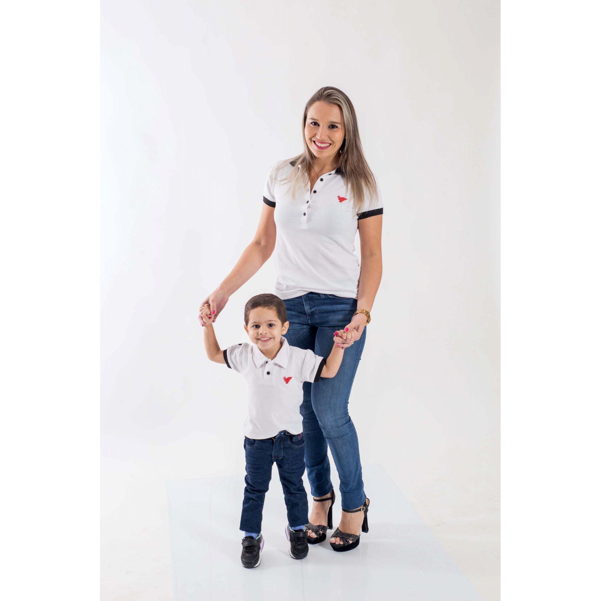 MÃE E FILHO > Kit 02 Peças - Camisas Branca com Preto [Coleção Tal Mãe Tal Filho]