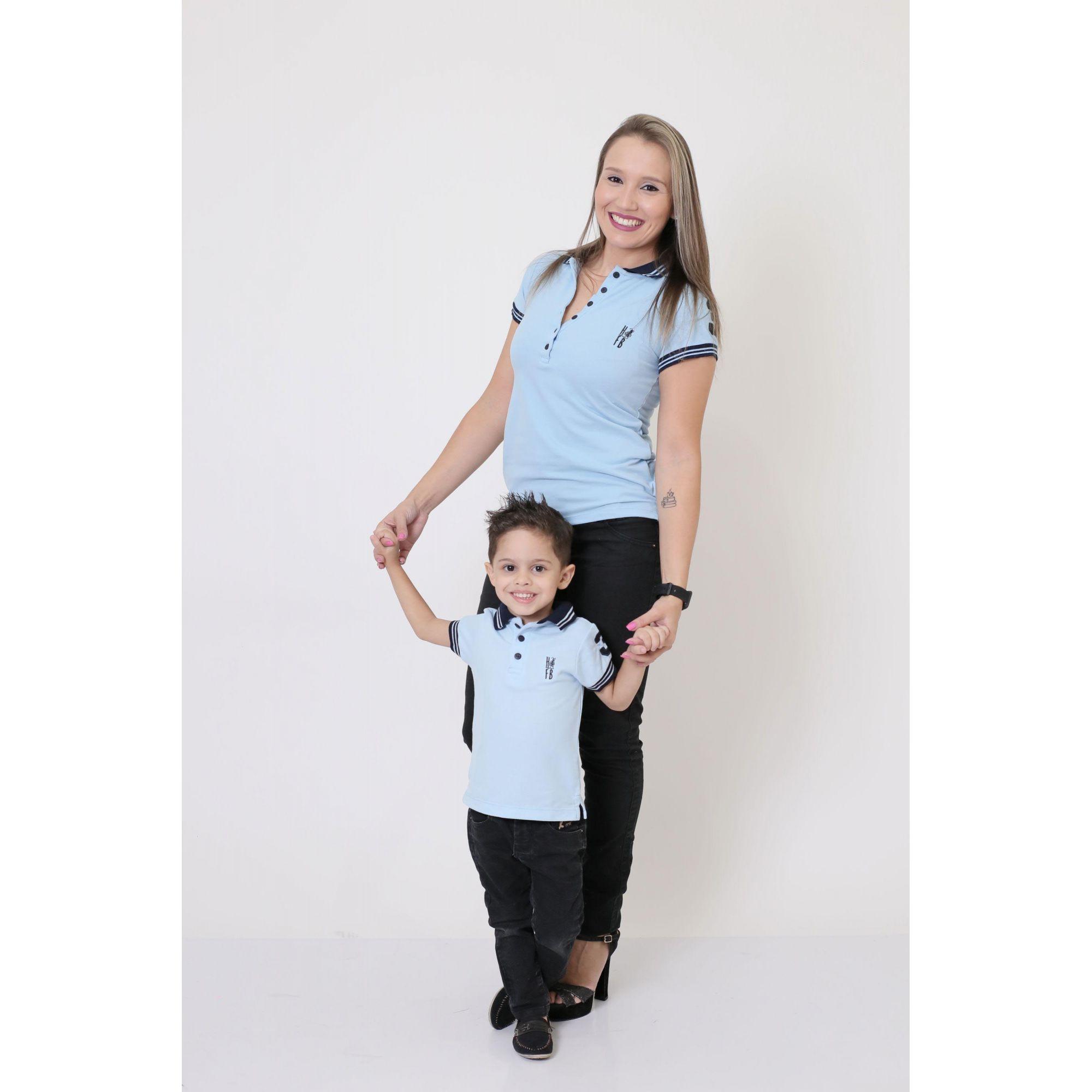 MÃE E FILHO > Kit 02 Peças - Camisas ou Body Polo Azul Nobreza [Coleção Tal Mãe Tal Filho]