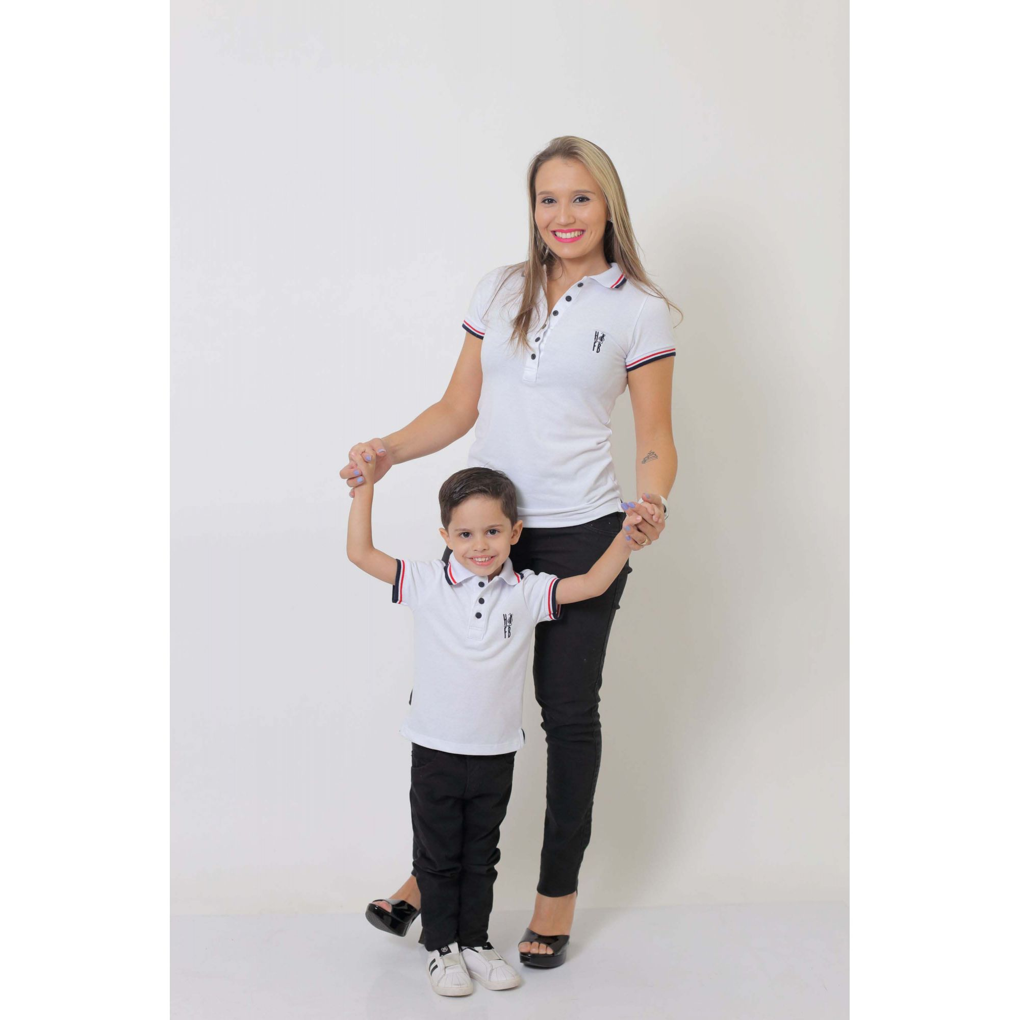 MÃE E FILHO > Kit 02 peças - Camisas ou Body Polo Branca   [Coleção Tal Mãe Tal Filho]