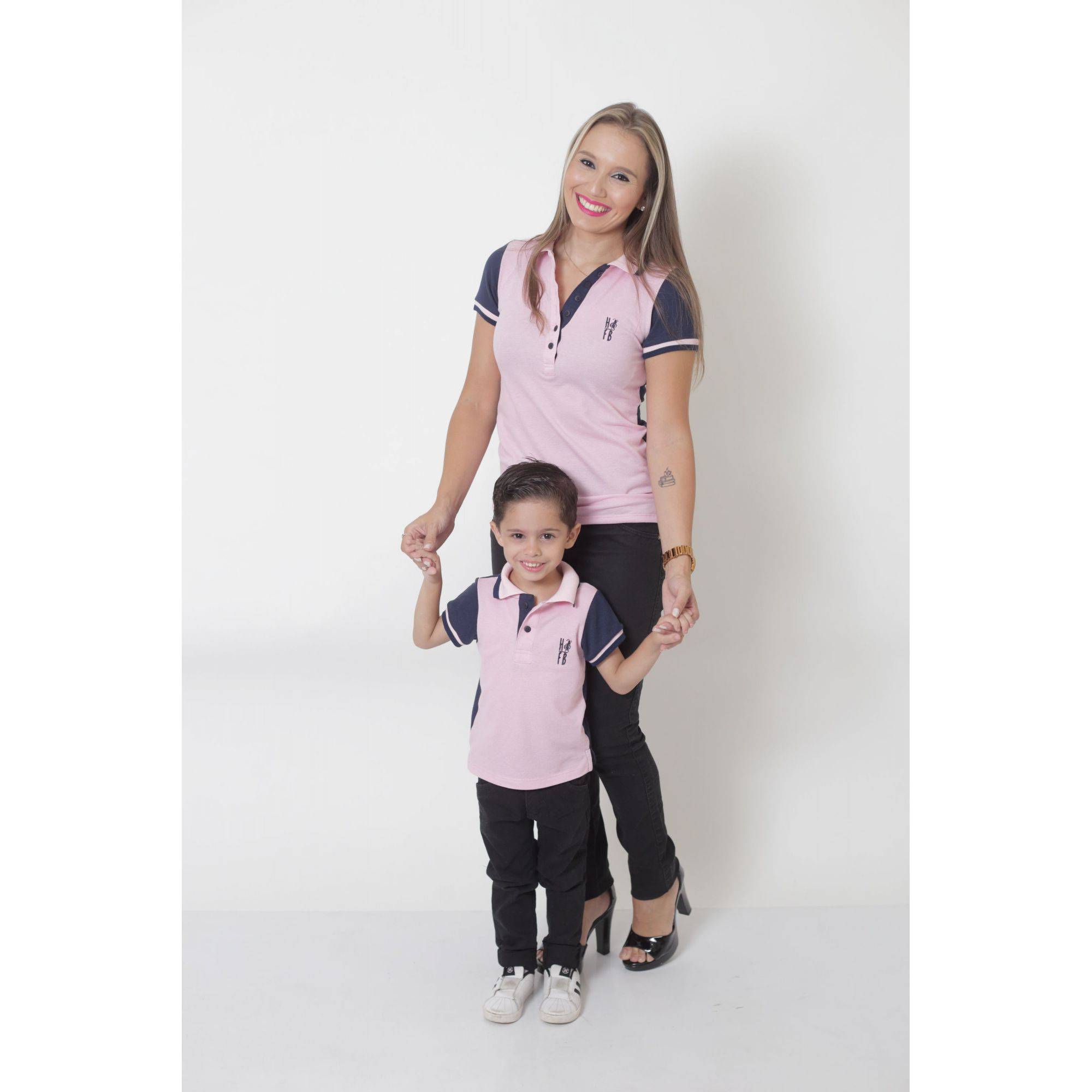 MÃE E FILHO > Kit 02 Peças - Camisas ou Body Polo Dual Cor  Rosa e Marinho [Coleção Tal Mãe Tal Filho]