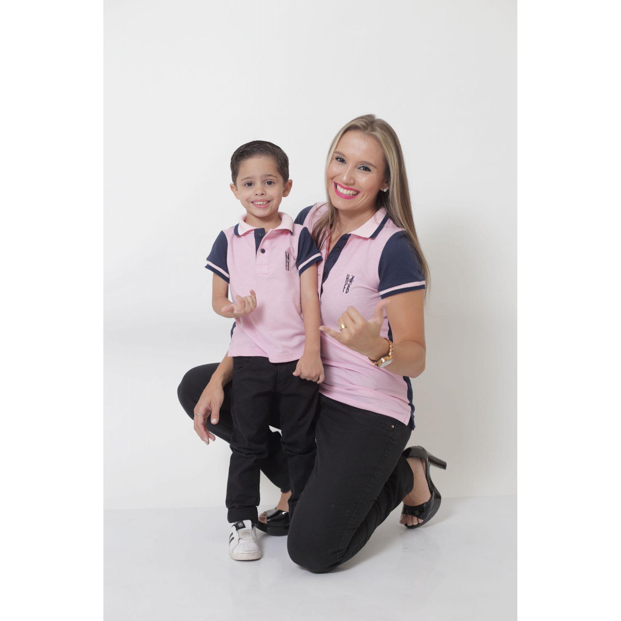 MÃE E FILHO > Kit 02 Peças - Camisas ou Body Polo Dual Cor  Rosa e Marinho [Coleção Tal Mãe Tal Filho]  - Heitor Fashion Brazil