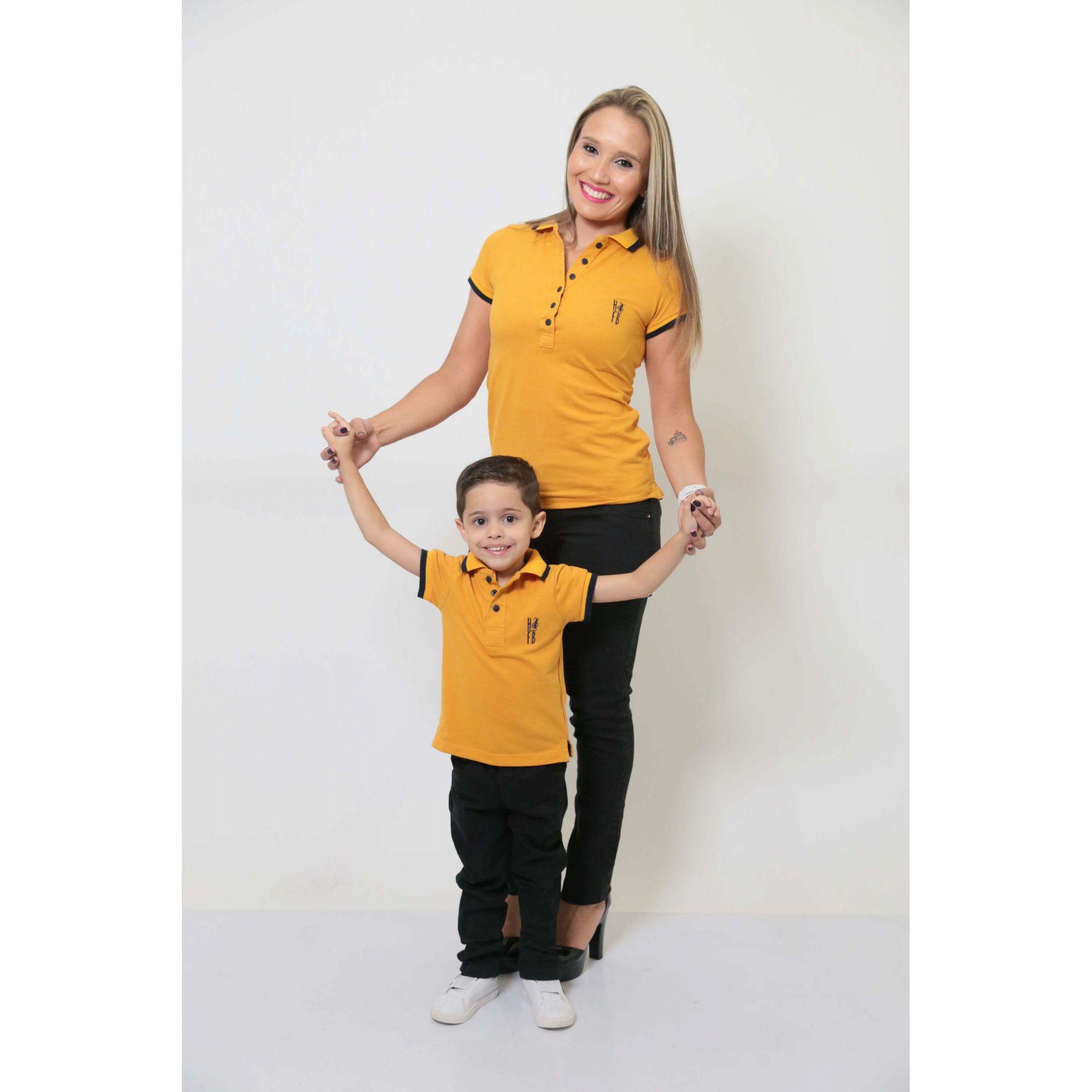 MÃE E FILHO > Kit 02 Peças - Camisas ou Body Polo Mostarda [Coleção Tal Mãe Tal Filho]