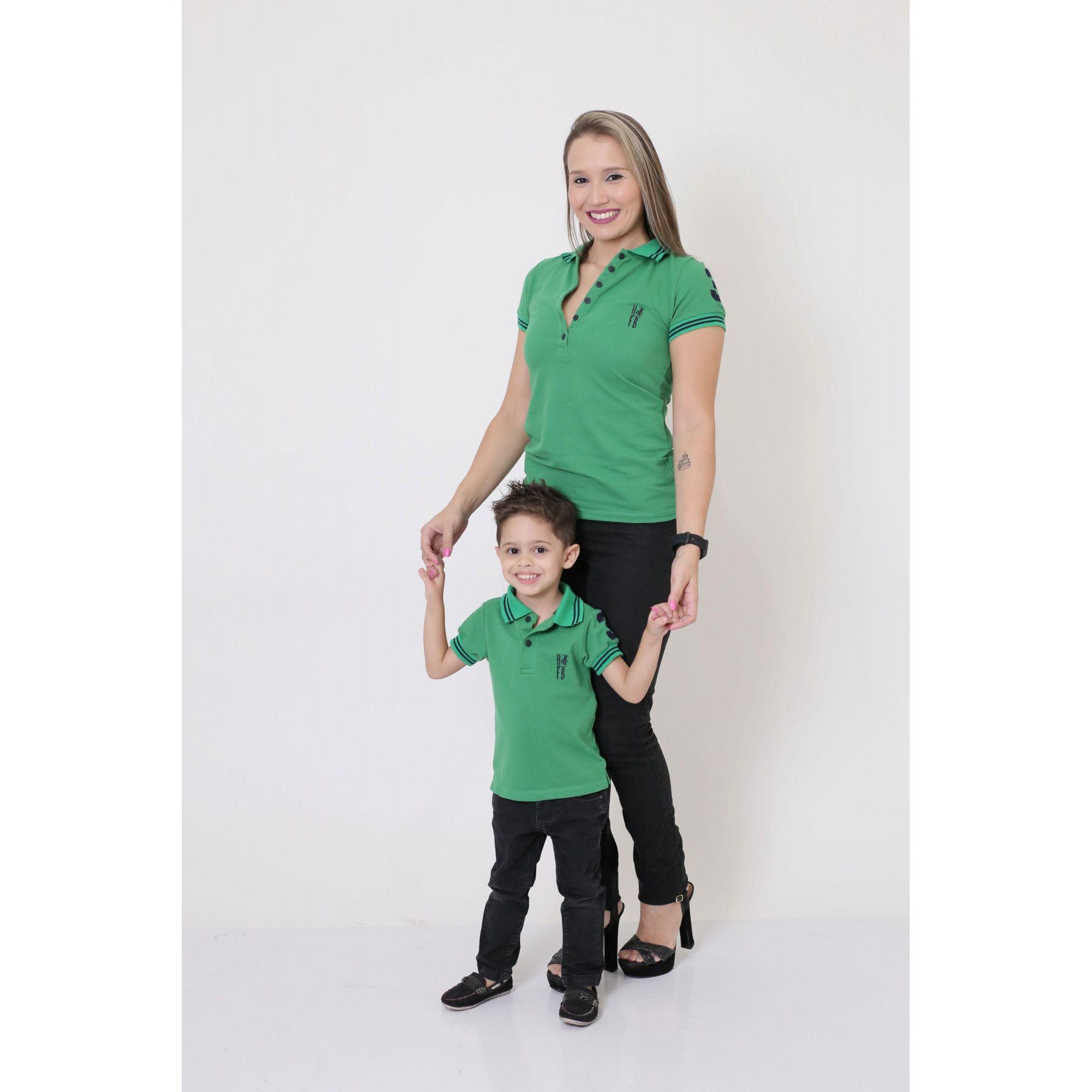 MÃE E FILHO > Kit 02 Peças - Camisas ou Body Polo Verde Esperança [Coleção Tal Mãe Tal Filho]