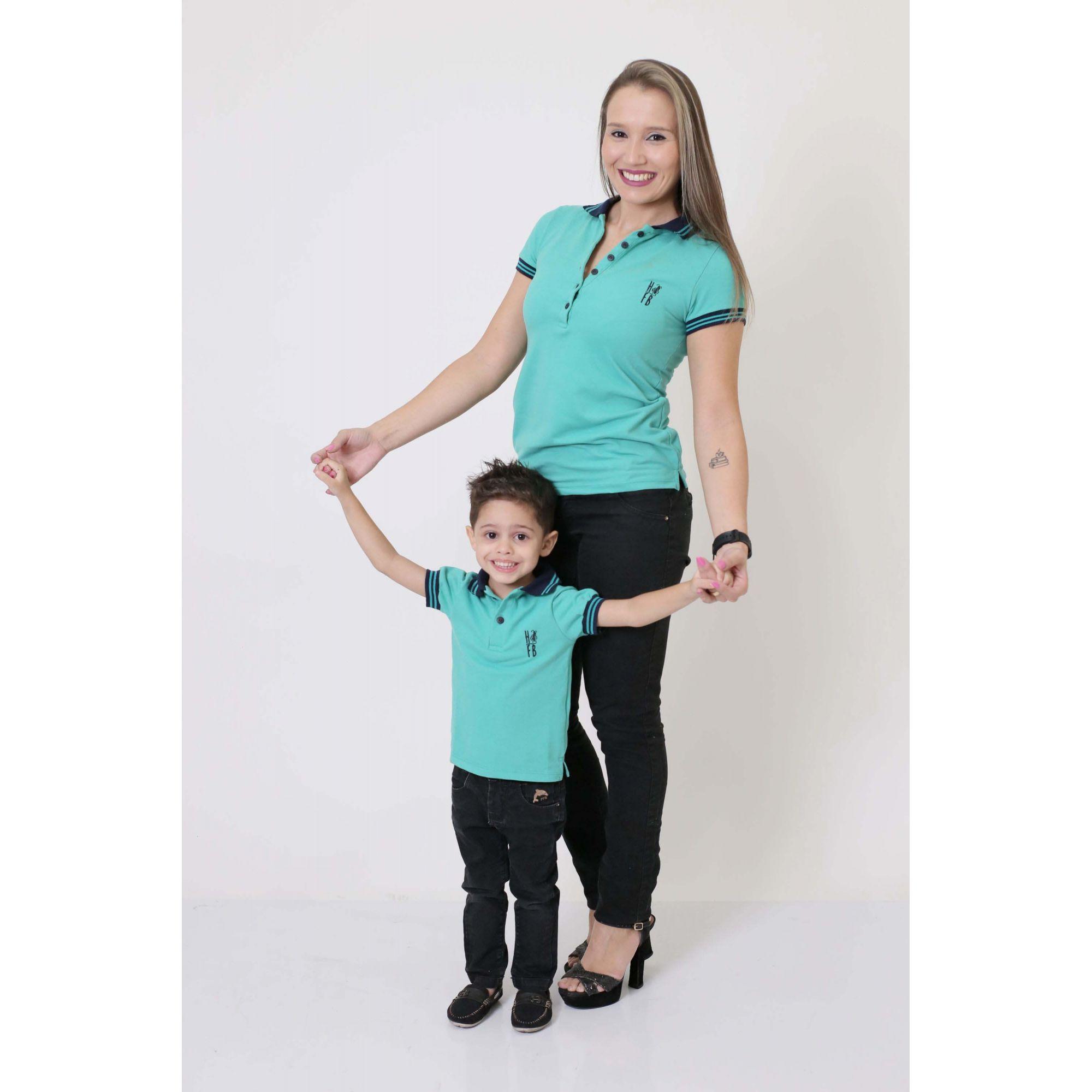MÃE E FILHO > Kit 02 Peças - Camisas ou Body Polo Verde Jade [Coleção Tal Mãe Tal Filho]