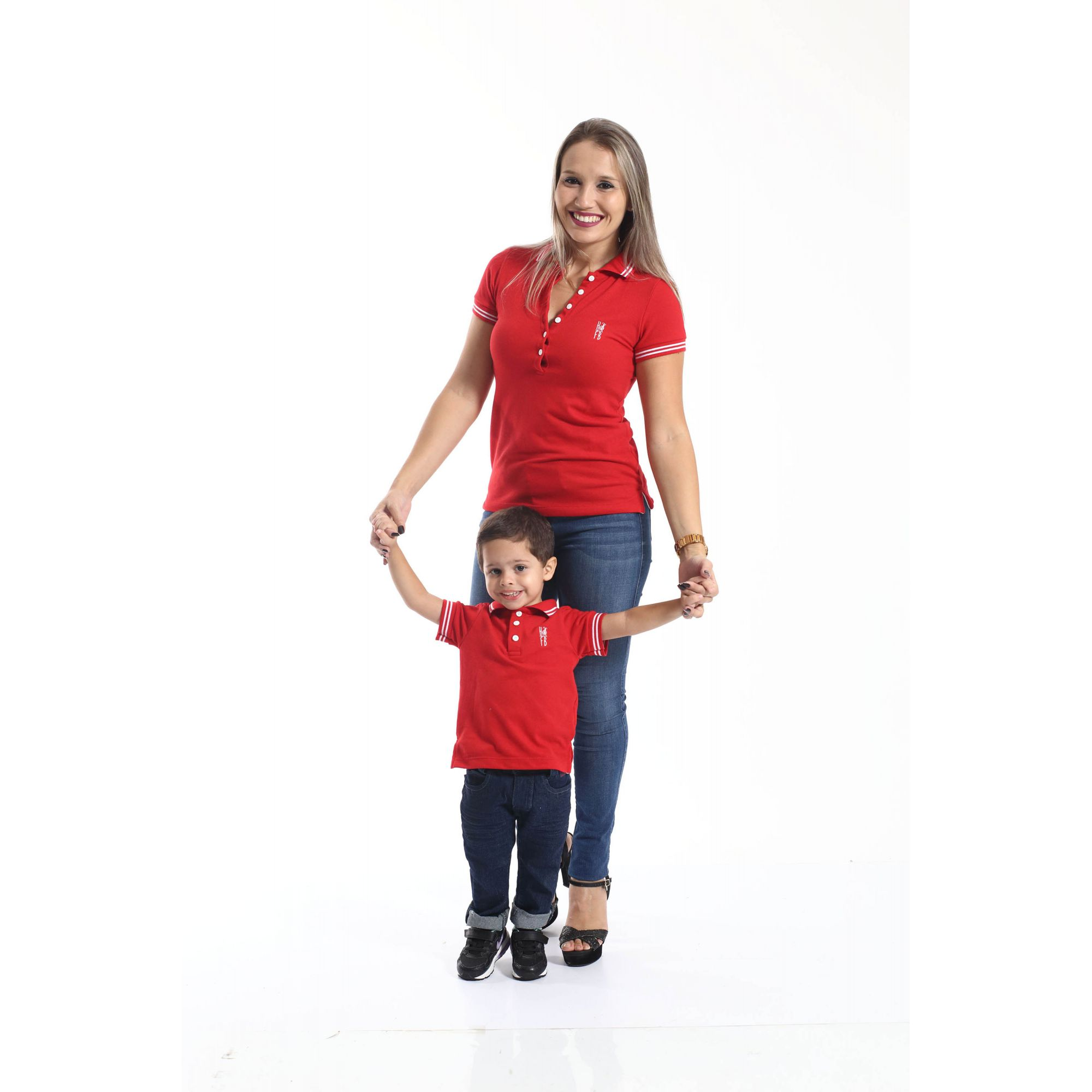 MÃE E FILHO > Kit 02 peças - Camisas ou Body Polo Vermelho Paixão   [Coleção Tal Mãe Tal Filho]