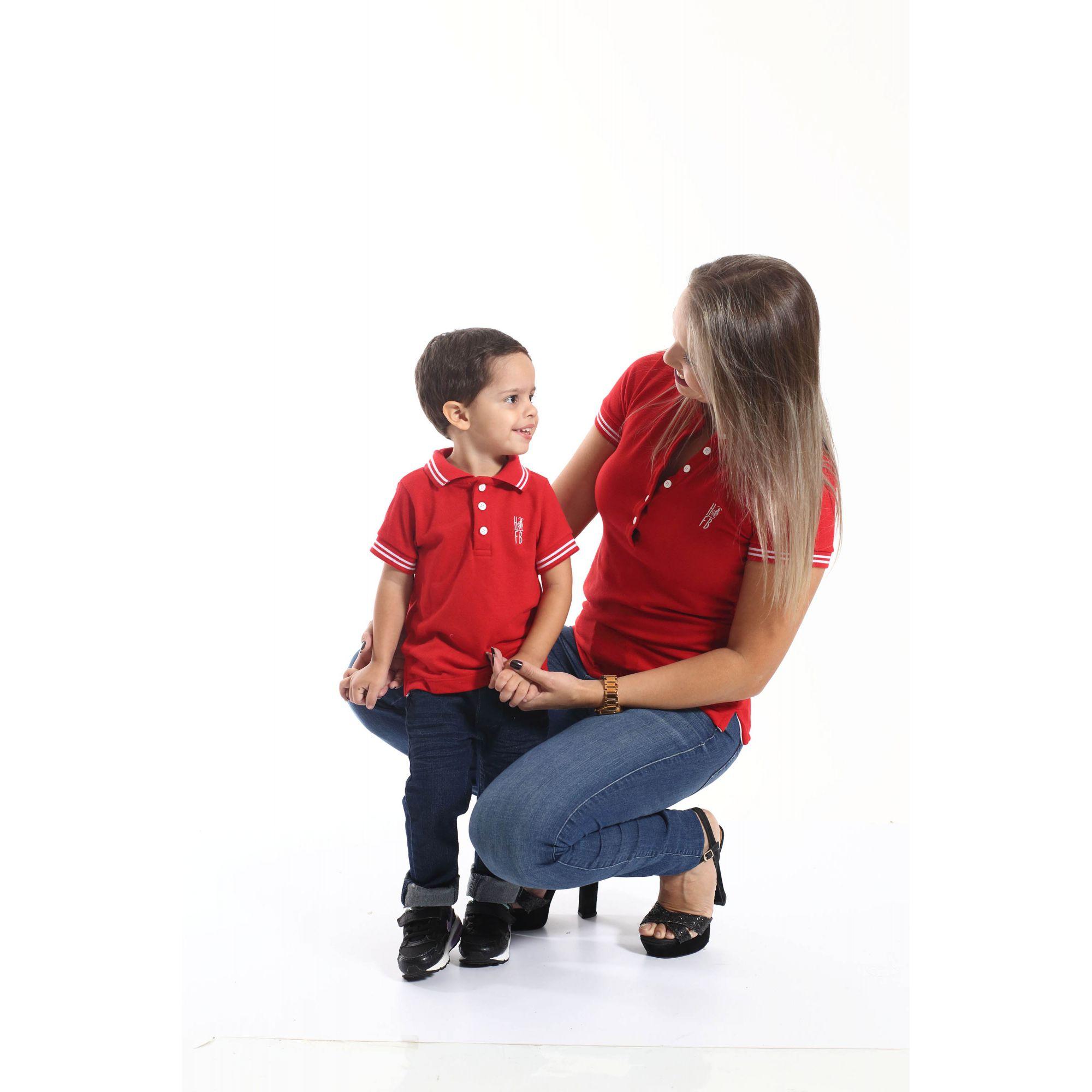 MÃE E FILHO > Kit 02 peças - Camisas ou Body Polo Vermelho Paixão   [Coleção Tal Mãe Tal Filho]  - Heitor Fashion Brazil
