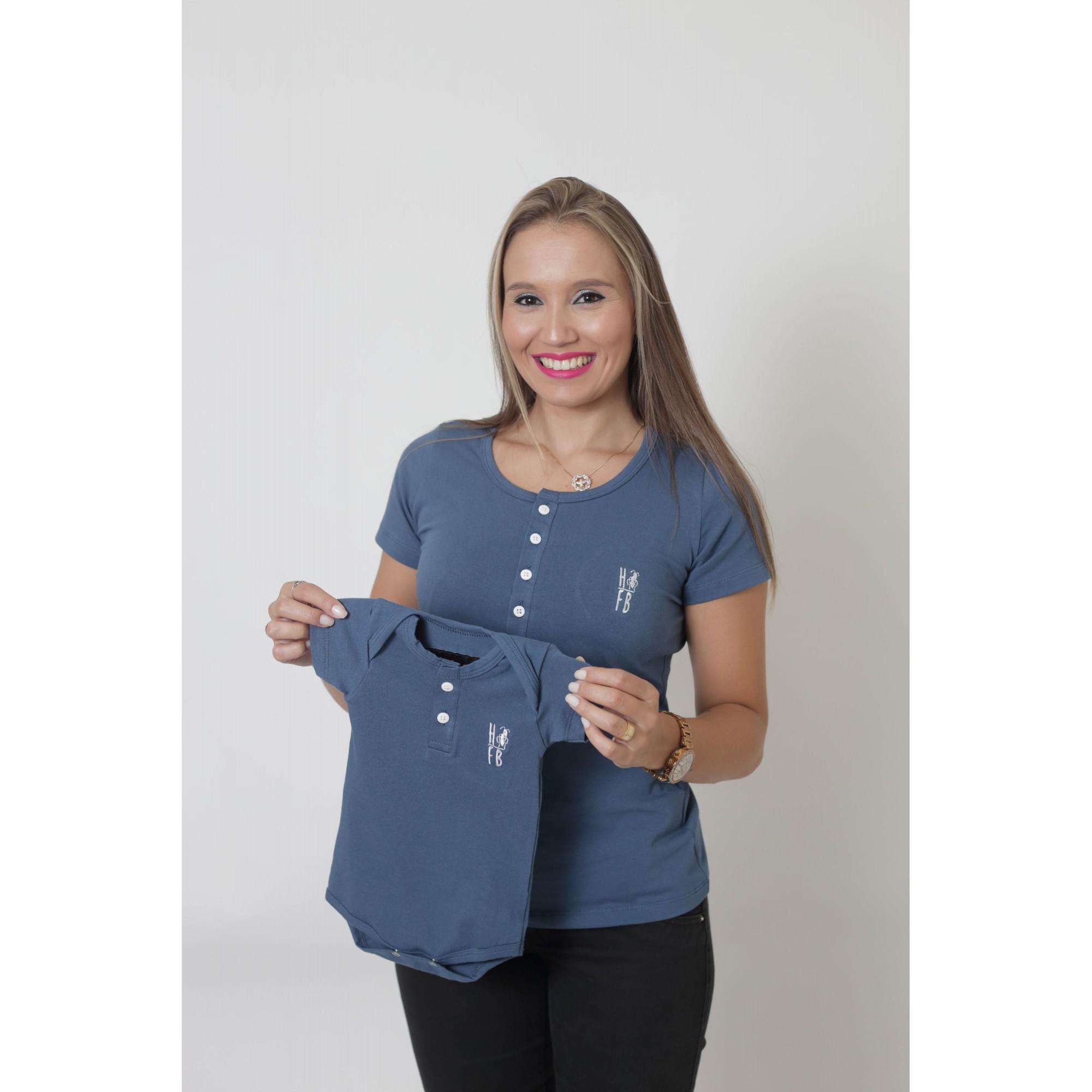 MÃE E FILHOS > Kit 02 Peças - T-Shirt + Body Henley Unissex - Azul Petróleo [Coleção Tal Mãe Tal Filhos]
