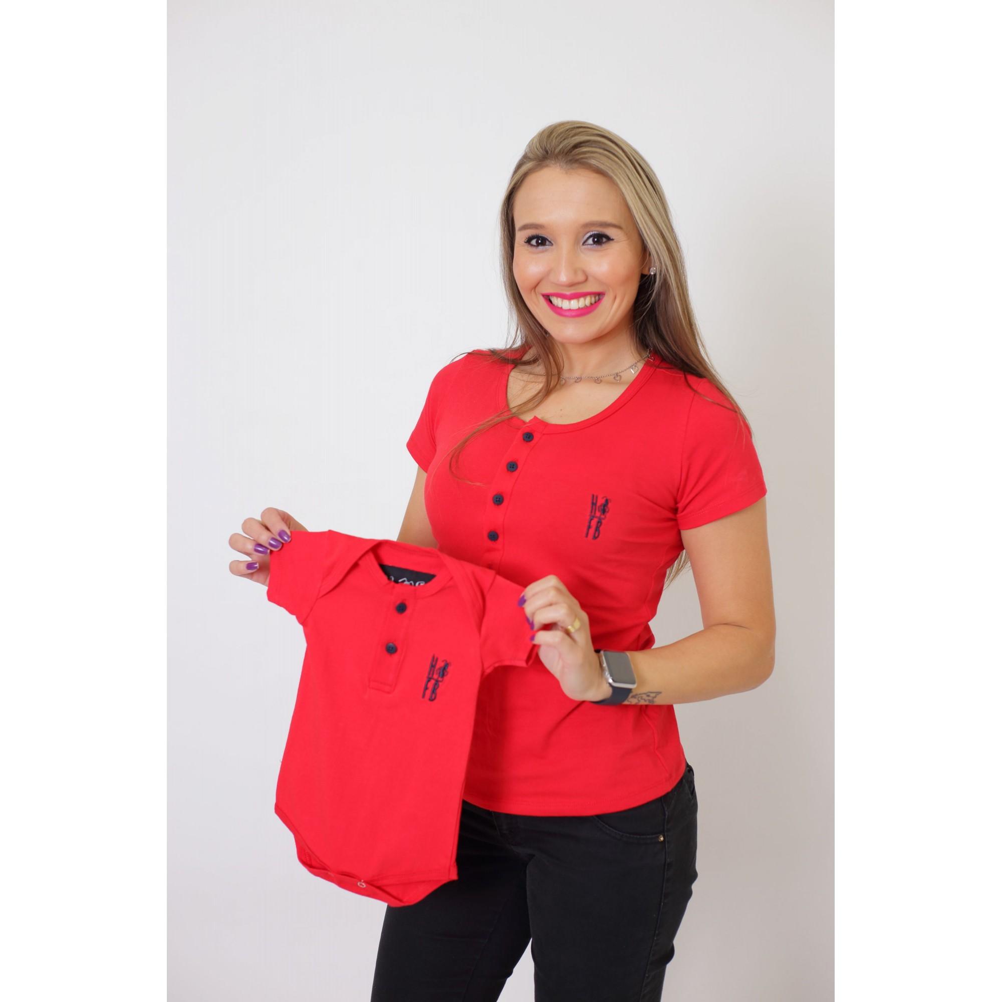MÃE E FILHOS > Kit 02 Peças - T-Shirt + Body Henley Unissex - Vermelho [Coleção Tal Mãe Tal Filhos]