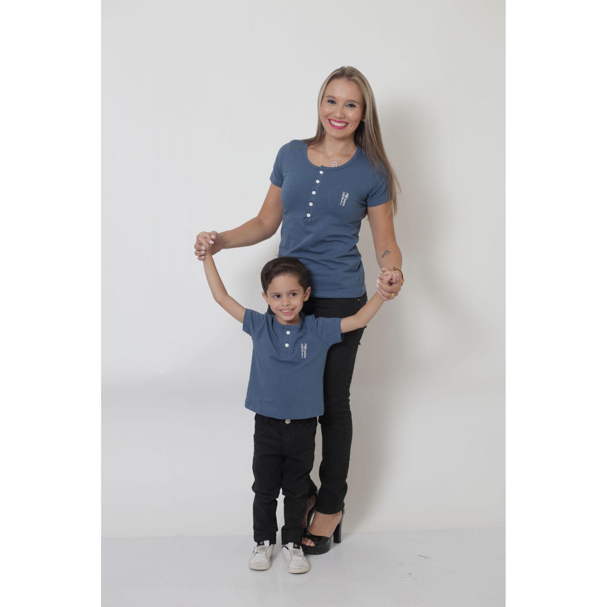 MÃE E FILHO > Kit 02 Peças T-Shirts ou Body Henley - Azul Petróleo [Coleção Tal Mãe Tal Filho]