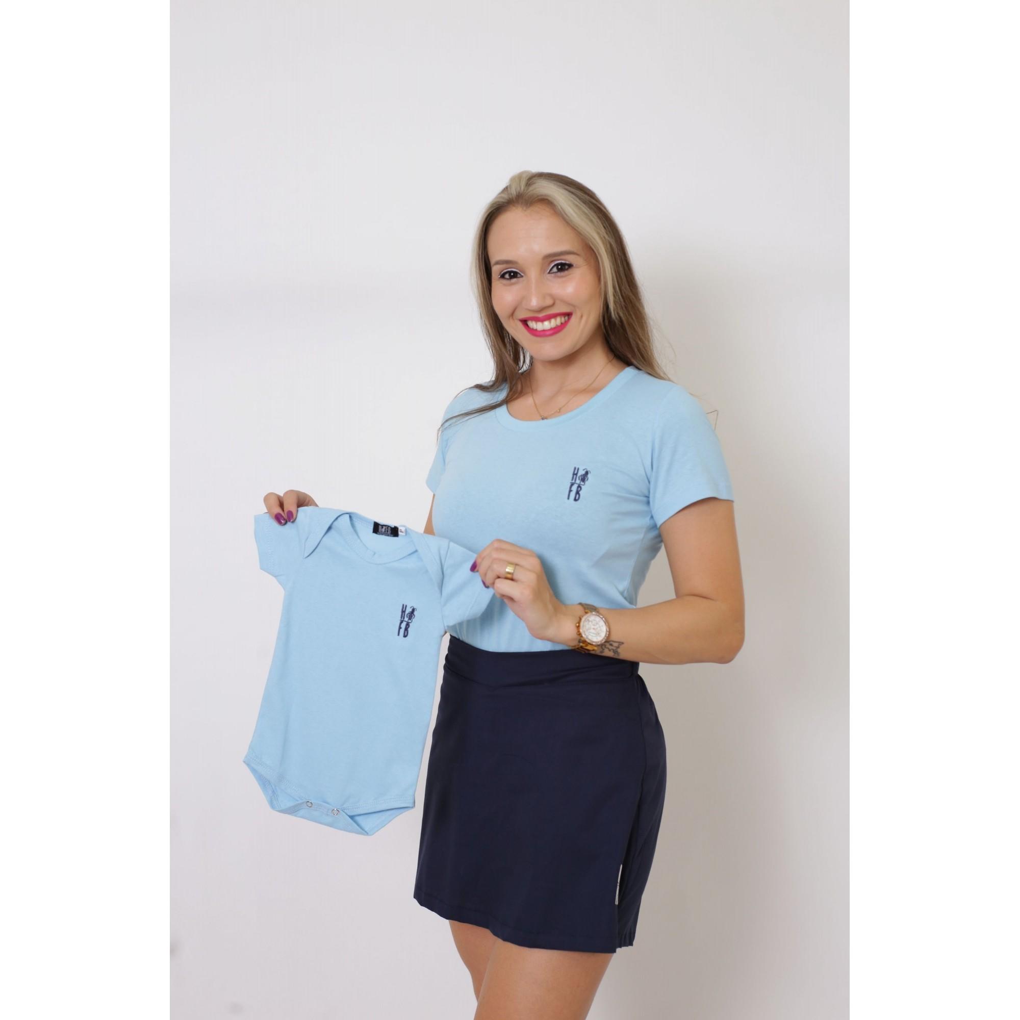MÃE E FILHO > Kit 02 Peças - T-Shirts ou Body Azul Bebê [Coleção Tal Mãe Tal Filho]  - Heitor Fashion Brazil