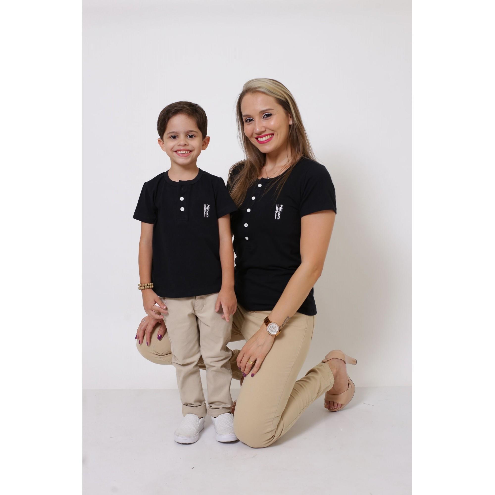 MÃE E FILHO > Kit 02 Peças - T-Shirts ou Body Henley - Preto [Coleção Tal Mãe Tal Filho]  - Heitor Fashion Brazil