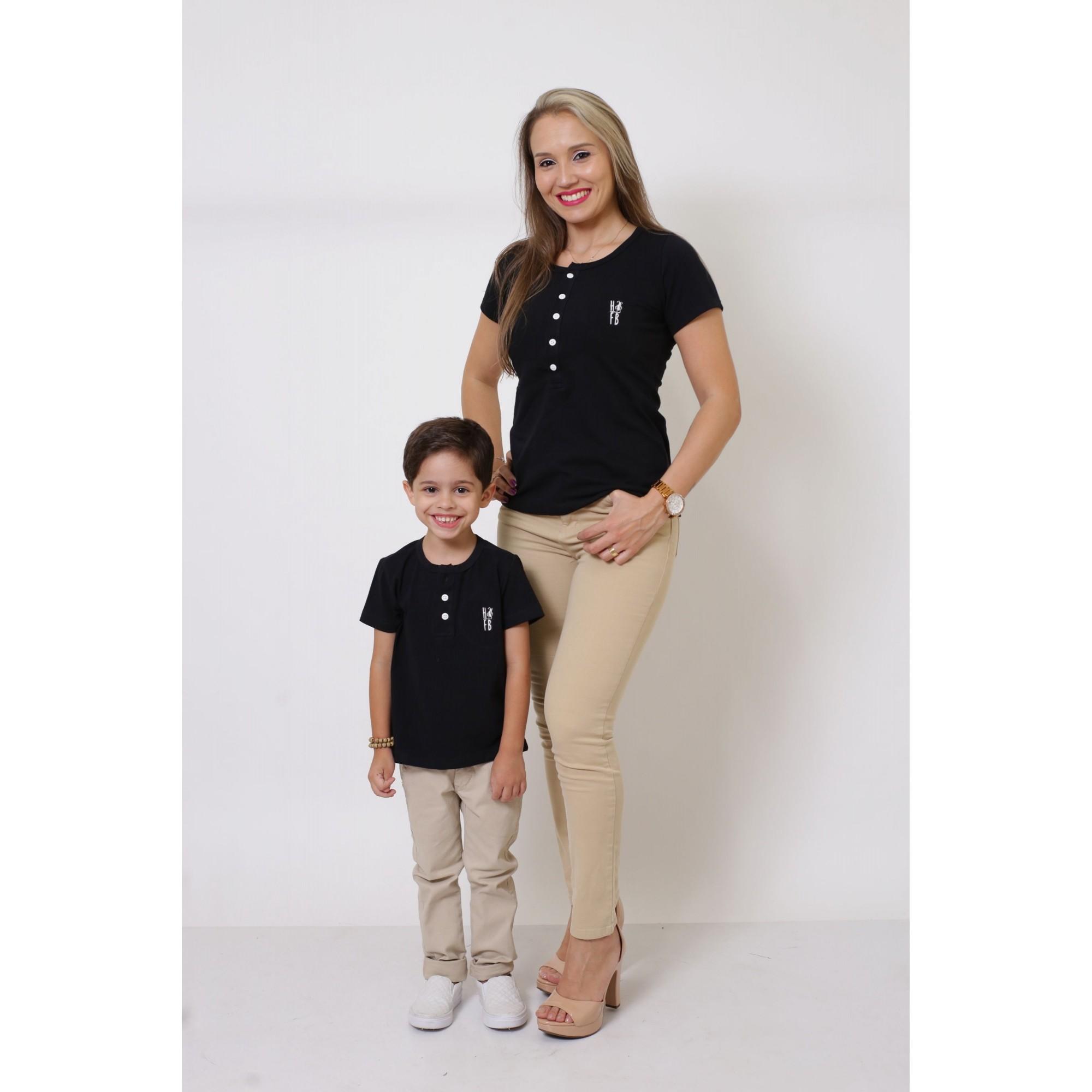 MÃE E FILHO > Kit 02 Peças - T-Shirts ou Body Henley - Preto [Coleção Tal Mãe Tal Filho]