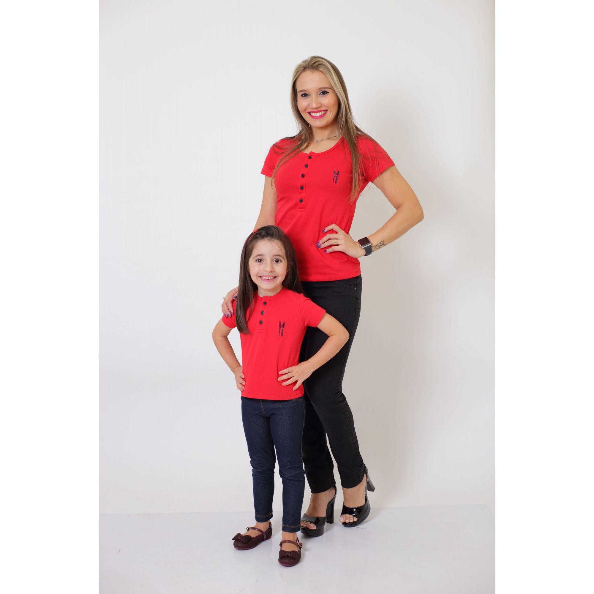 MÃE E FILHO > Kit 02 Peças - T-Shirts ou Body Henley - Vermelho [Coleção Tal Mãe Tal Filho]  - Heitor Fashion Brazil