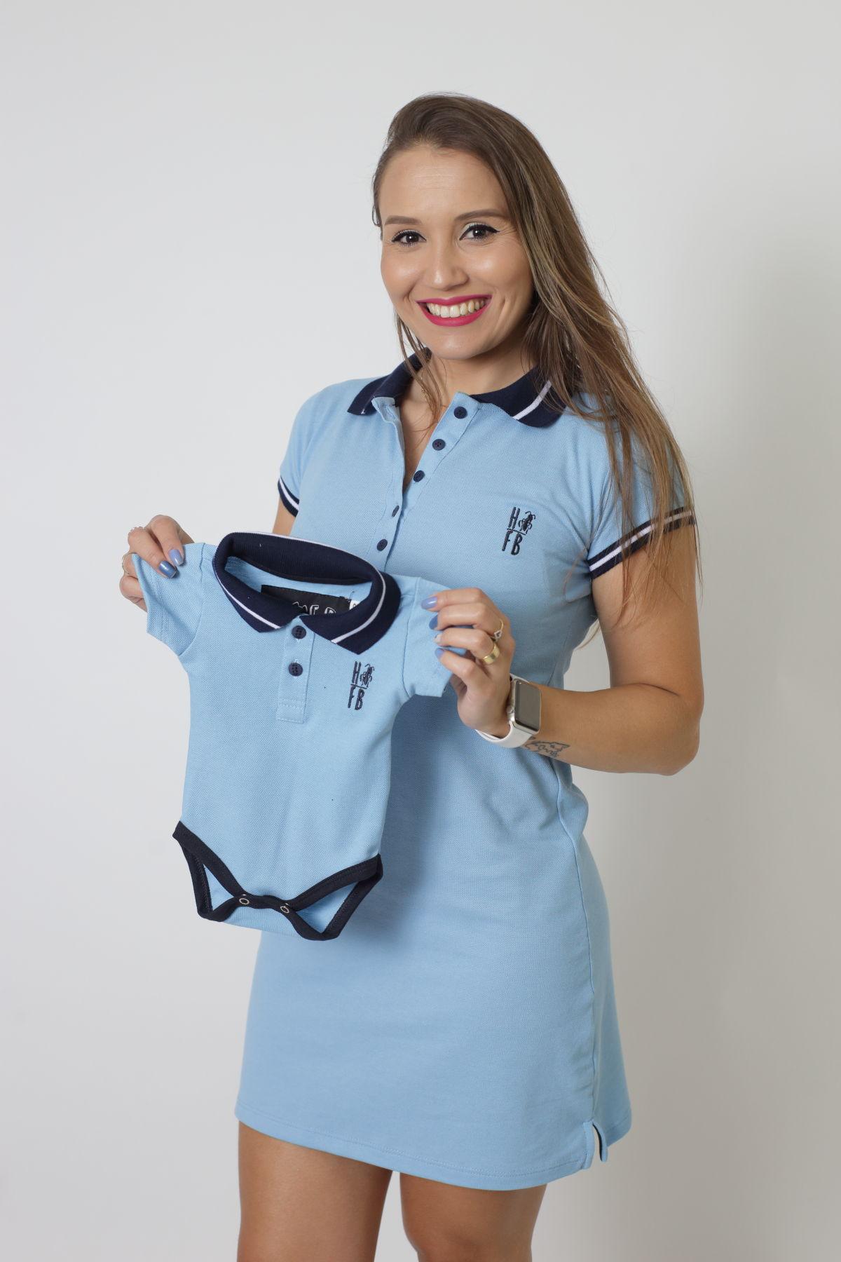 MÃE E FILHO > Kit 02 peças Vestido + Body  Unissex Polo - Azul Nobreza