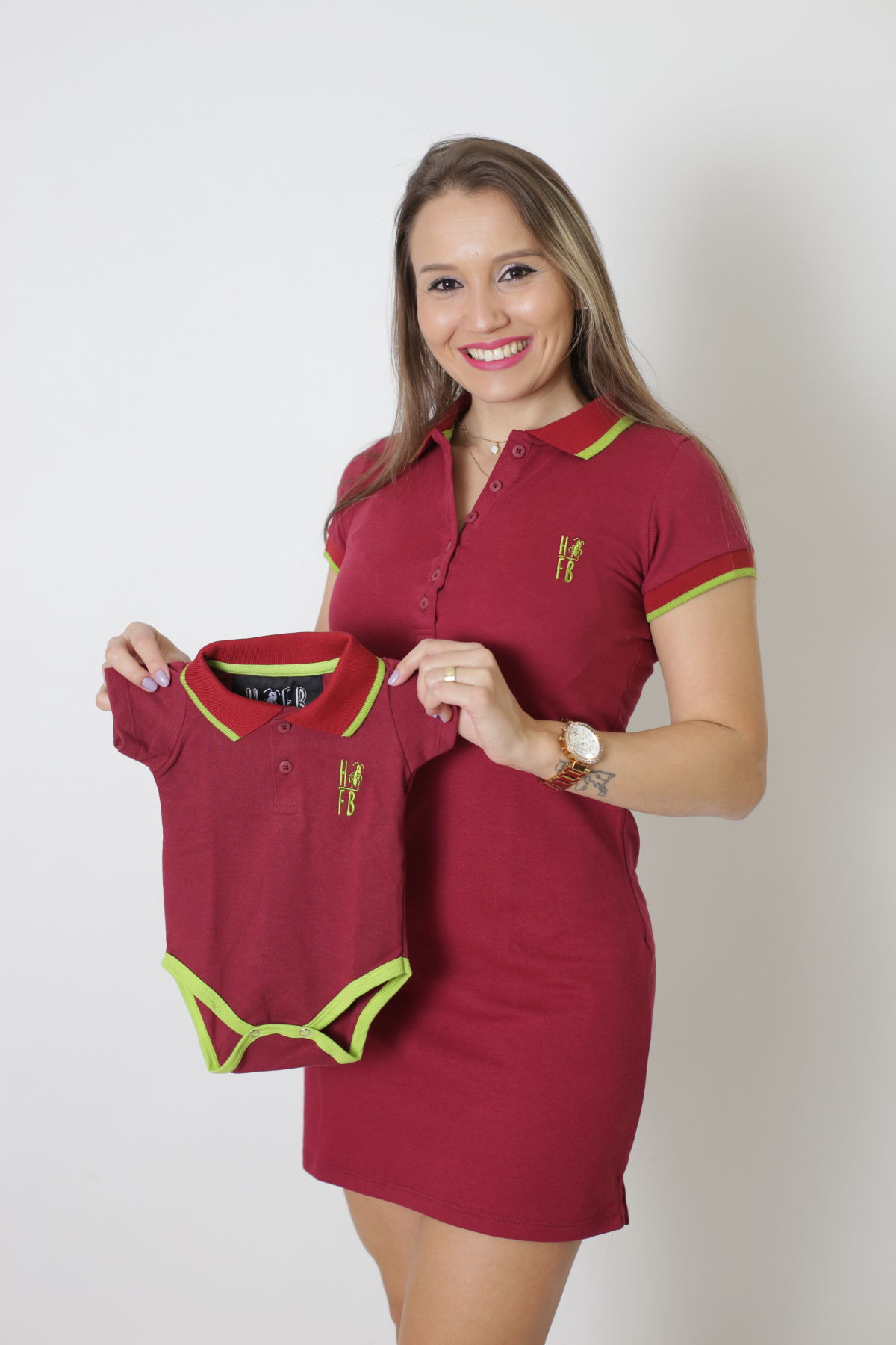 MÃE E FILHO > Kit 02 peças Vestido + Body Unissex Polo - Bordo [Coleção Tal Mãe Tal Filho]
