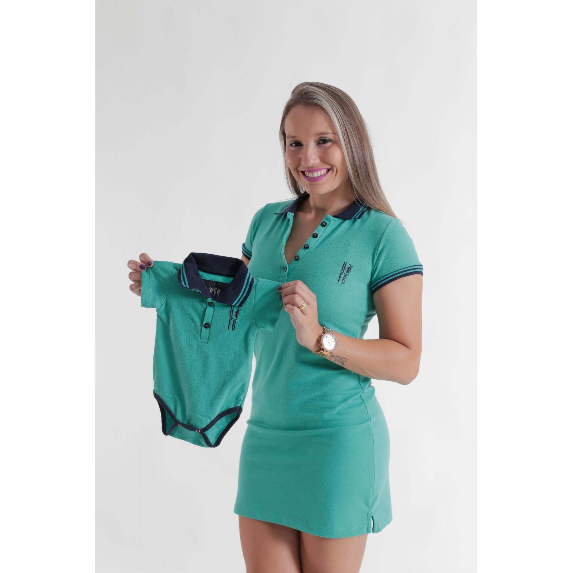 MÃE E FILHO > Kit 02 peças Vestido + Body Unissex Polo - Verde Jade [Coleção Tal Mãe Tal Filho]