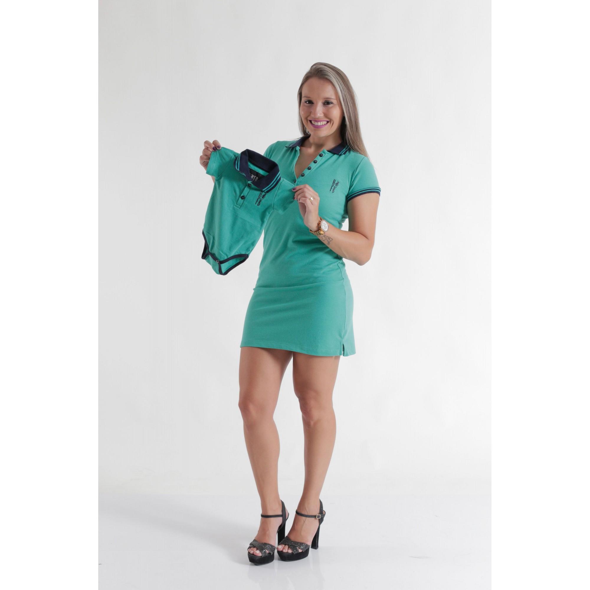 MÃE E FILHO > Kit 02 peças Vestido + Body Unissex Polo - Verde Jade [Coleção Tal Mãe Tal Filho]  - Heitor Fashion Brazil