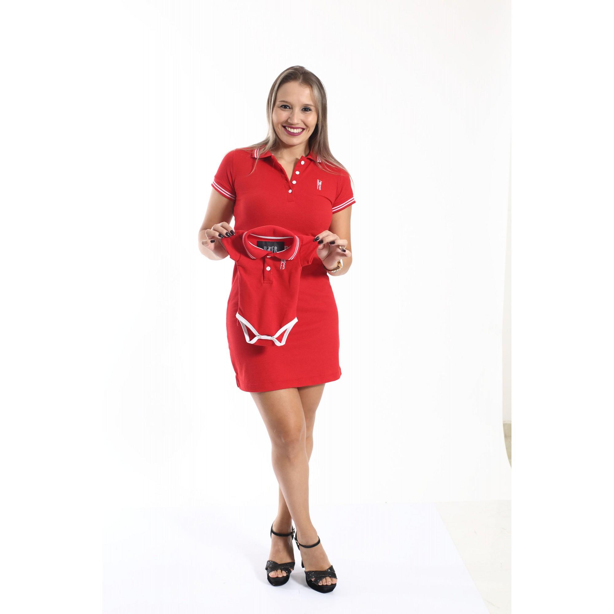 MÃE E FILHO > Kit 02 peças Vestido + Body Unissex Polo - Vermelho Paixão [Coleção Tal Mãe Tal Filho]