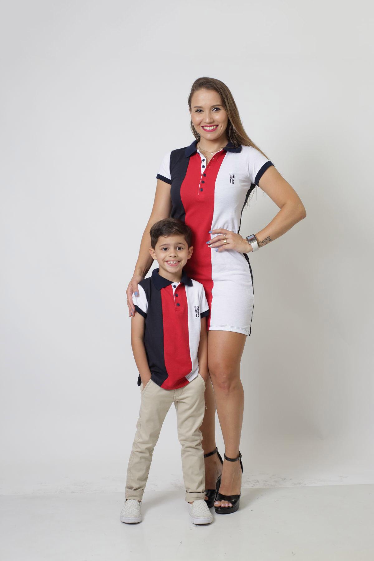 MÃE E FILHO > Kit 02 peças - Vestido + Camisa ou Body Polo - Listrados King