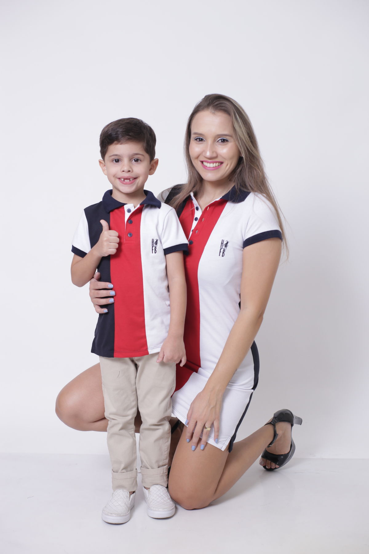 MÃE E FILHO > Kit 02 peças - Vestido + Camisa ou Body Polo - Listrados King [Coleção Tal Mãe Tal Filho]  - Heitor Fashion Brazil
