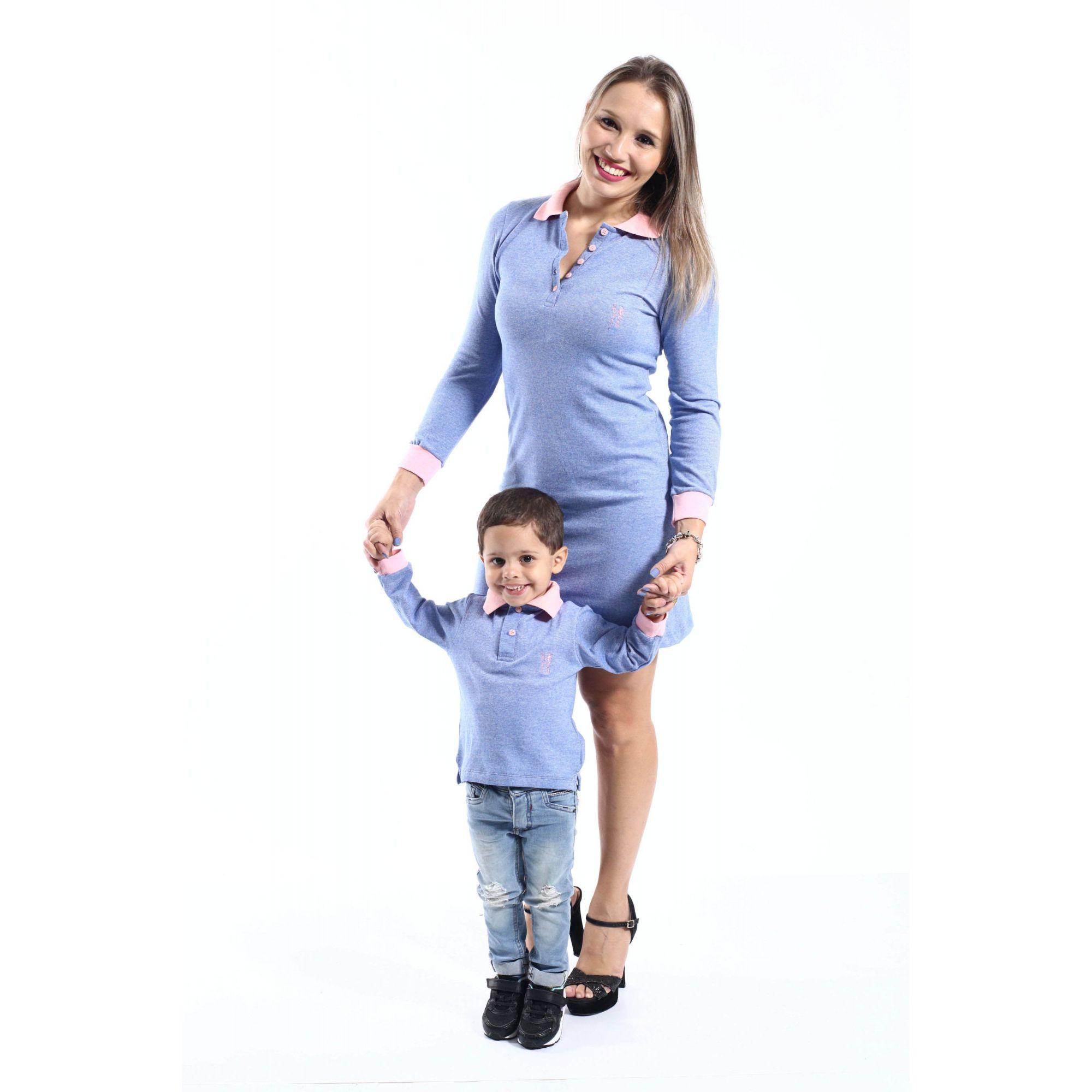 MÃE E FILHO > Kit 02 Peças Vestido + Camisa Polo [Coleção Tal Mãe Tal Filho]  - Heitor Fashion Brazil