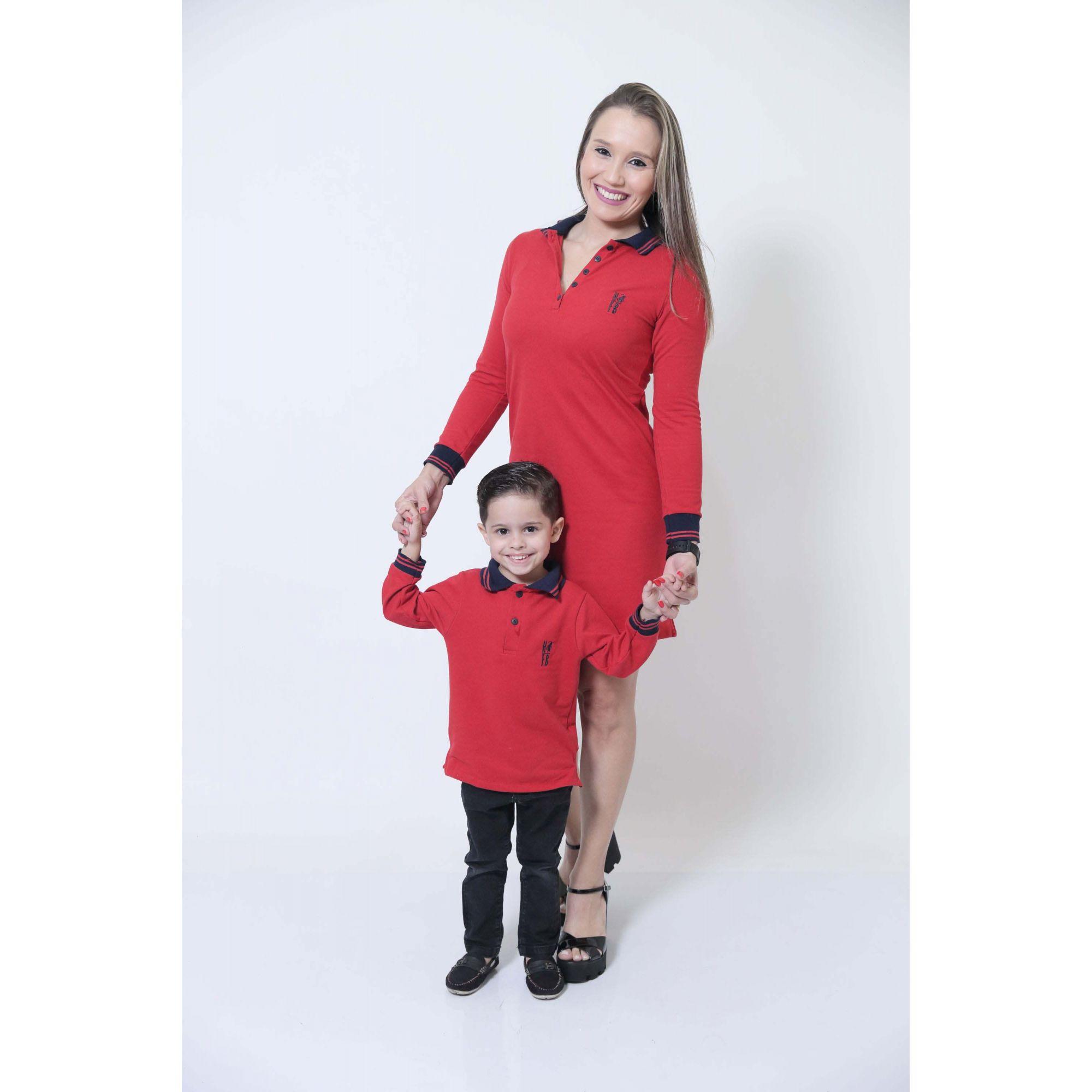 MÃE E FILHO > Kit 02 Peças Vestido + Camisa Polo ou Body Manga Longa Vermelho [Coleção Tal Mãe Tal Filho]