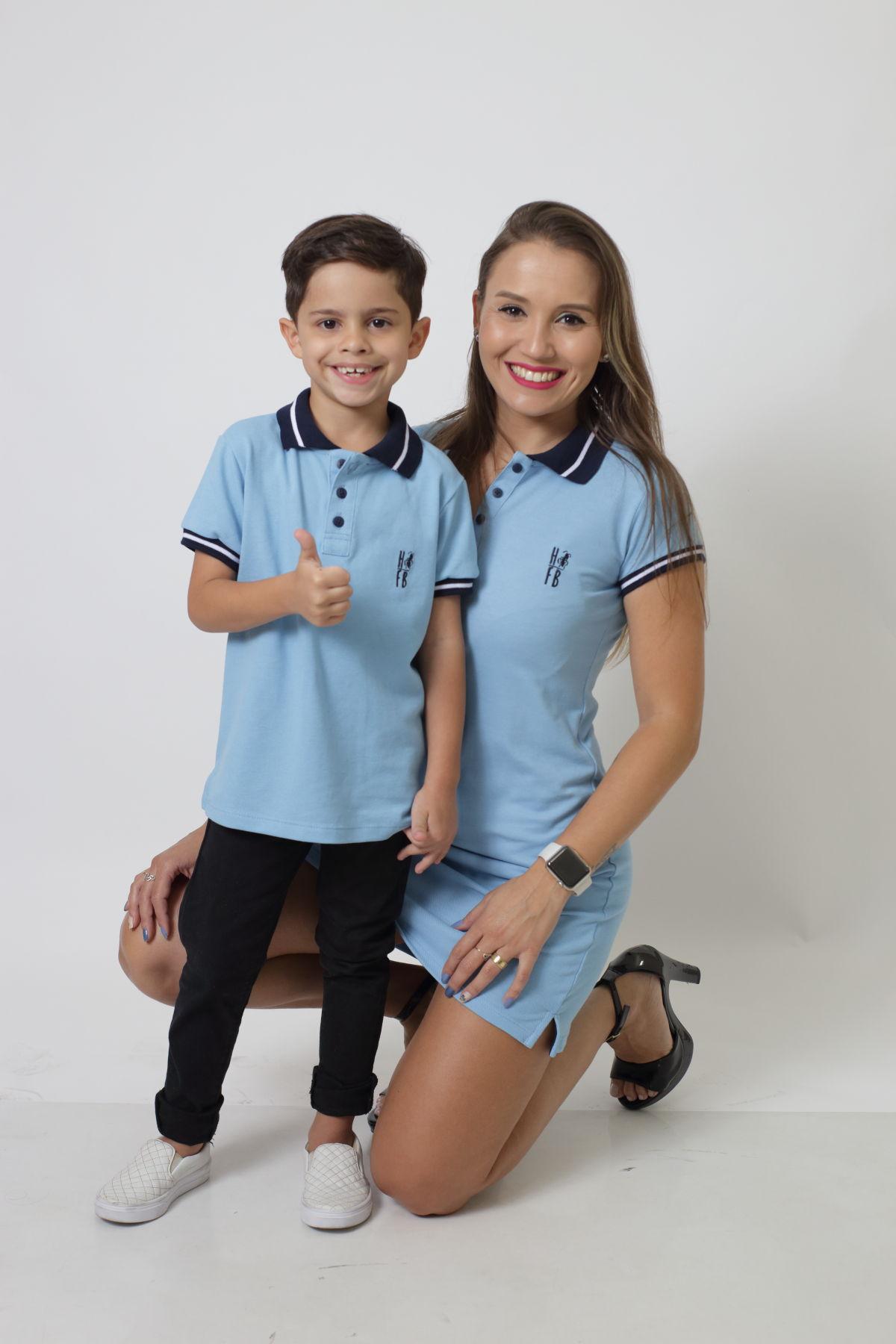 MÃE E FILHO > Kit 02 peças Vestido e Camisa ou Body Polo Infantil Azul Nobreza