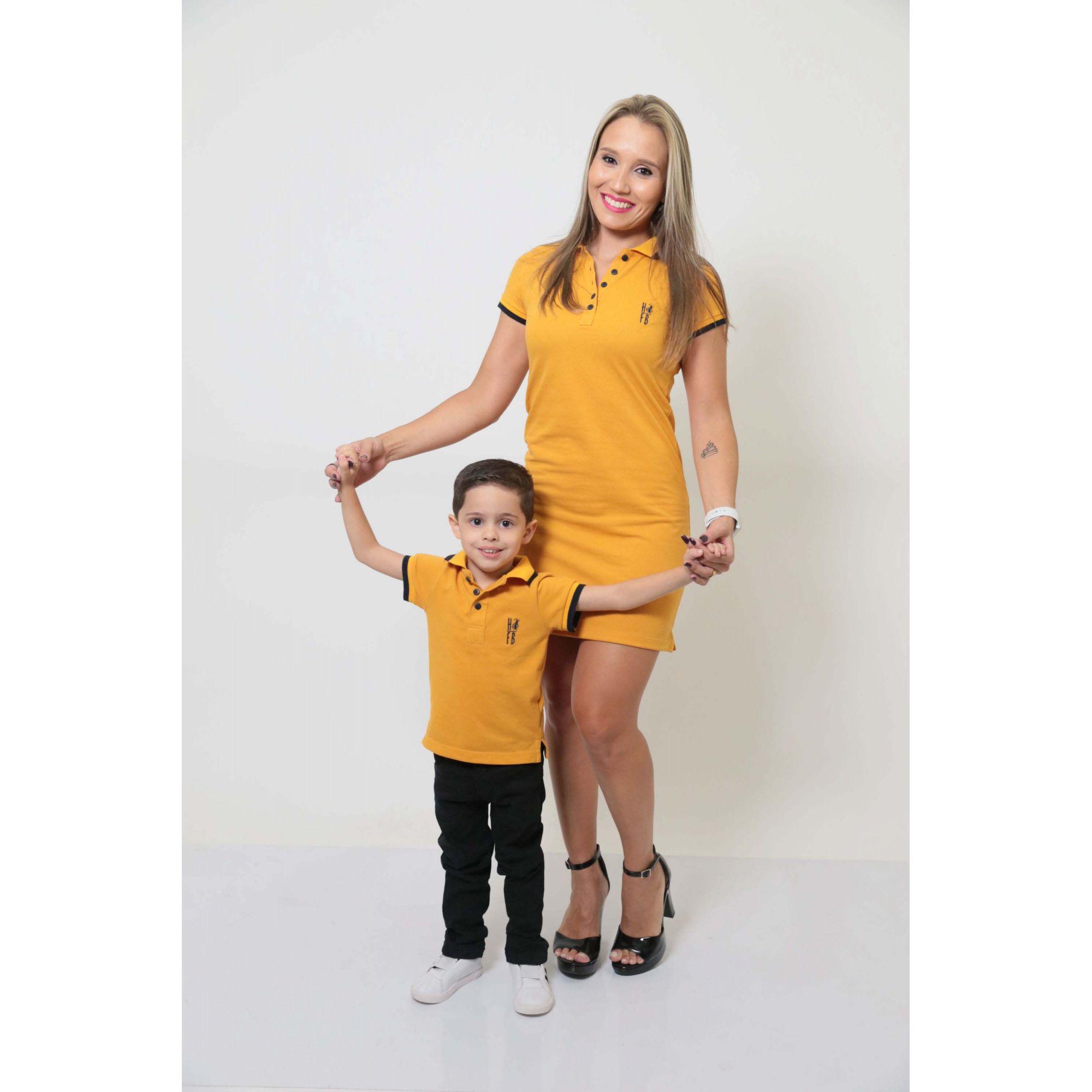 MÃE E FILHO > Kit 02 peças Vestido e Camisa ou Body Polo Mostarda [Coleção Tal Mãe Tal Filho]
