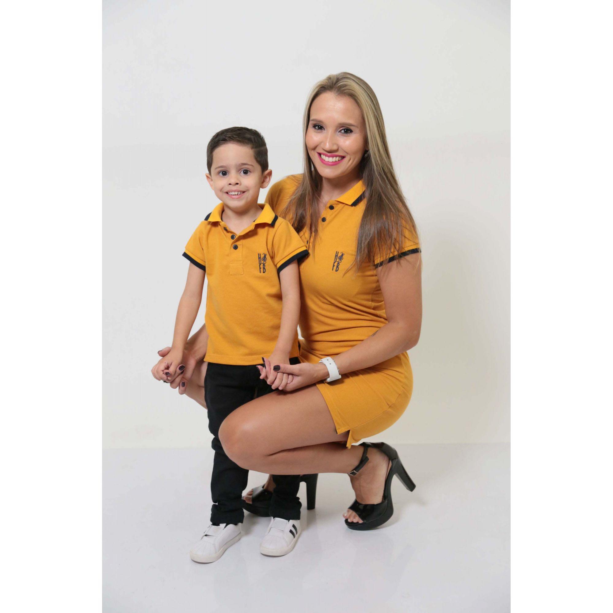 MÃE E FILHO > Kit 02 peças Vestido e Camisa ou Body Polo Mostarda [Coleção Tal Mãe Tal Filho]  - Heitor Fashion Brazil