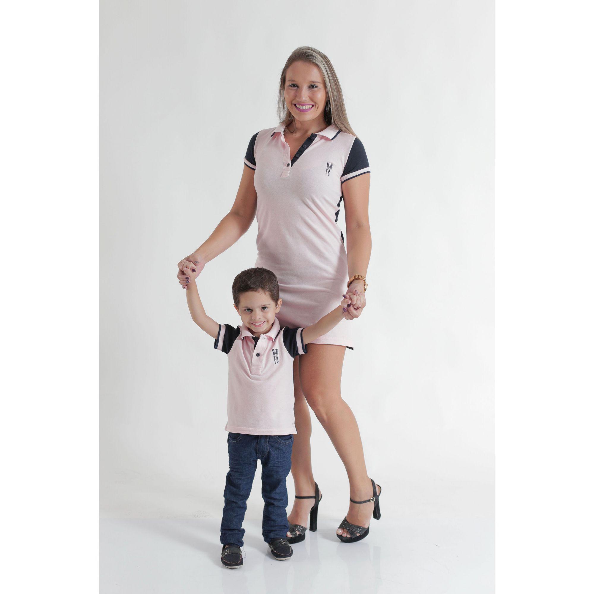 MÃE E FILHO > Kit 02 peças Vestido e Camisa ou Body Polo Rosa com Azul [Coleção Tal Mãe Tal Filho]