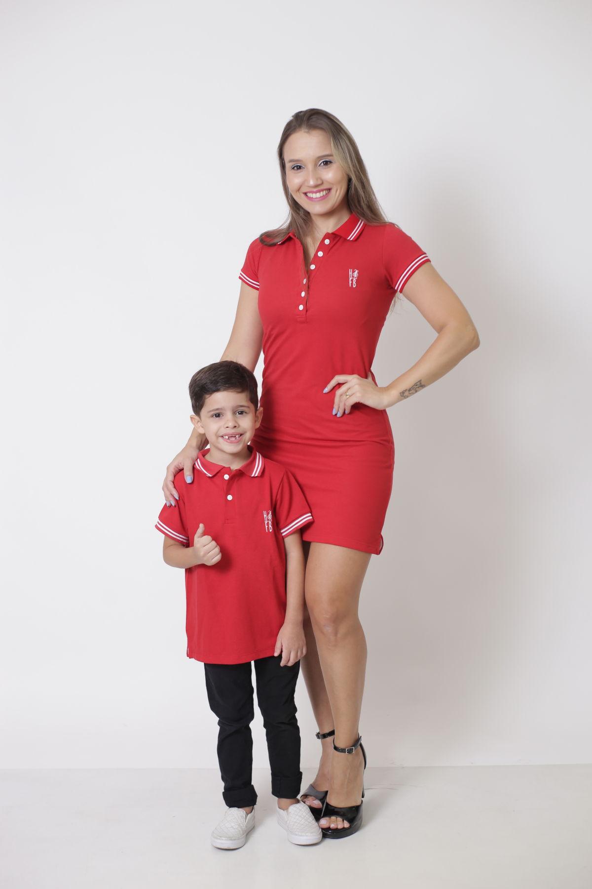 MÃE E FILHO > Kit 02 peças Vestido e Camisa ou Body Polo Vermelho Paixão [Coleção Tal Mãe Tal Filho]