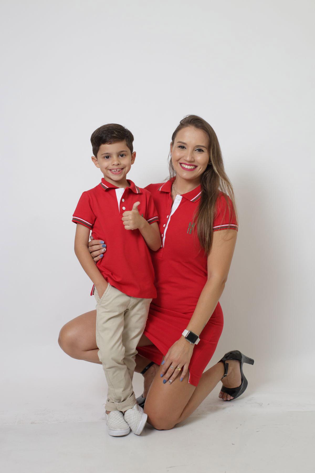 MÃE E FILHO > Kit 02 peças Vestido e Camisa ou Body Polo Vermelho PREMIUM
