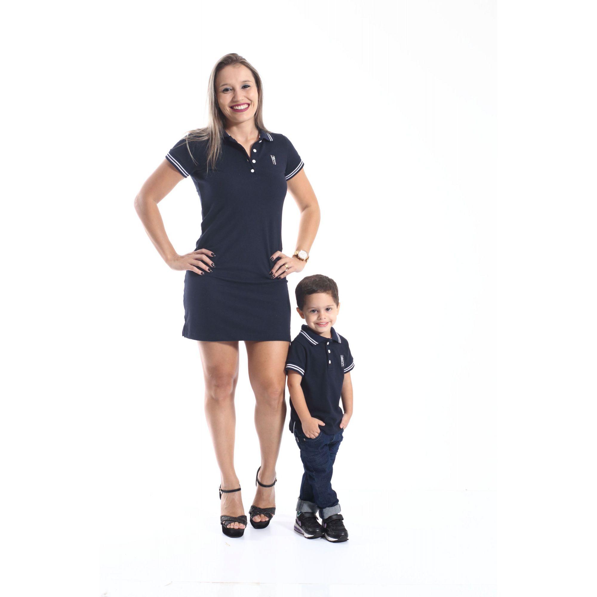 MÃE E FILHO > Kit 02 peças Vestido e Camisa ou Body Polo Azul Marinho Céu [Coleção Tal Mãe Tal Filho]  - Heitor Fashion Brazil