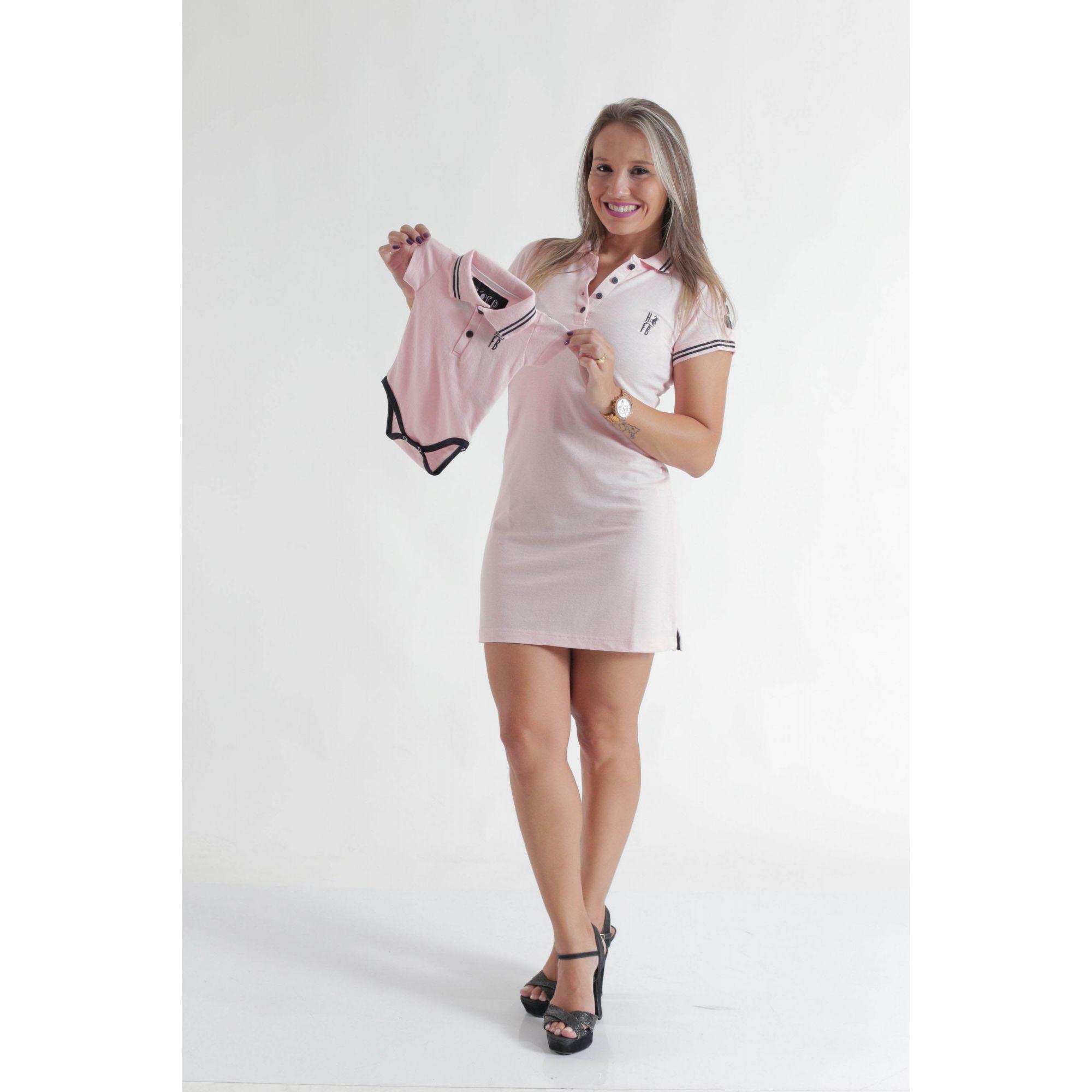 MÃE E FILHO > Kit 02 peças Vestido e Camisa ou Body Polo Rosa Amor [Coleção Tal Mãe Tal Filho]  - Heitor Fashion Brazil