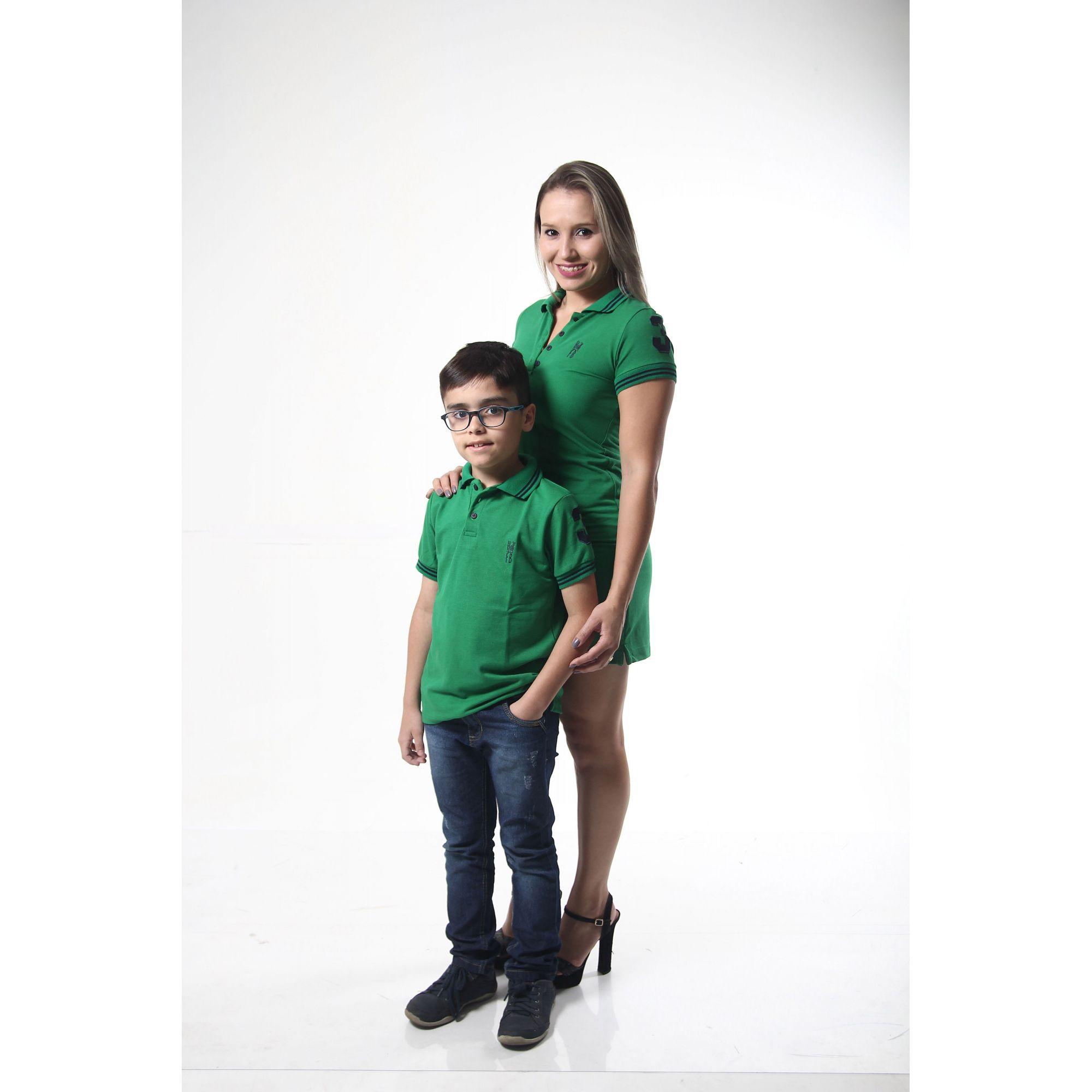 MÃE E FILHO > Kit 02 peças Vestido e Camisa ou Body Polo Verde Esperança [Coleção Tal Mãe Tal Filho]