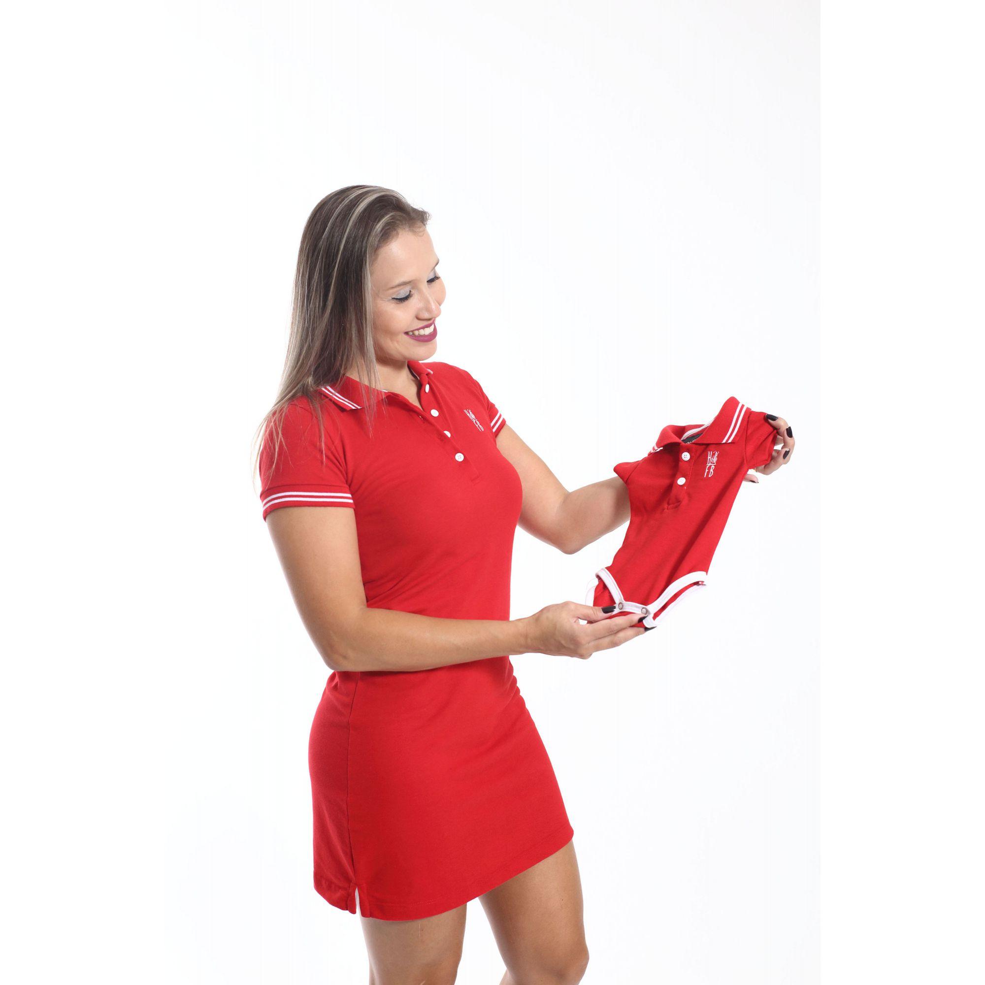 MÃE E FILHO > Kit 02 peças Vestido e Camisa ou Body Polo Vermelho Paixão [Coleção Tal Mãe Tal Filho]  - Heitor Fashion Brazil