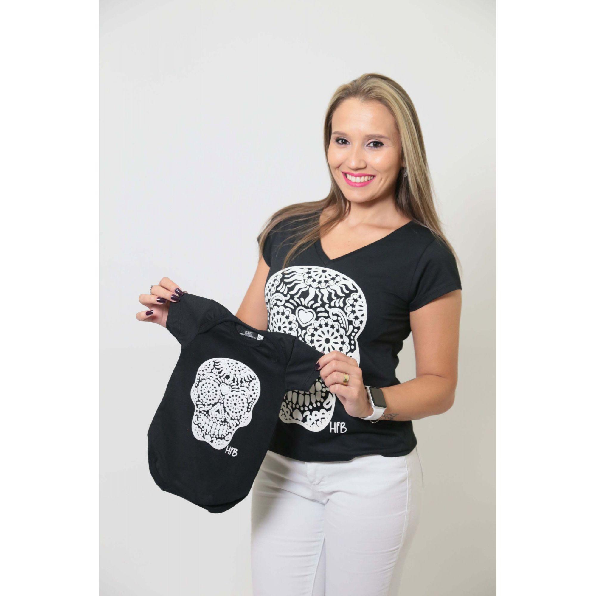 MÃE E FILHO > Kit Camisetas Pretas Caveira Alto Relevo [Coleção Tal Mãe Tal Filho]  - Heitor Fashion Brazil