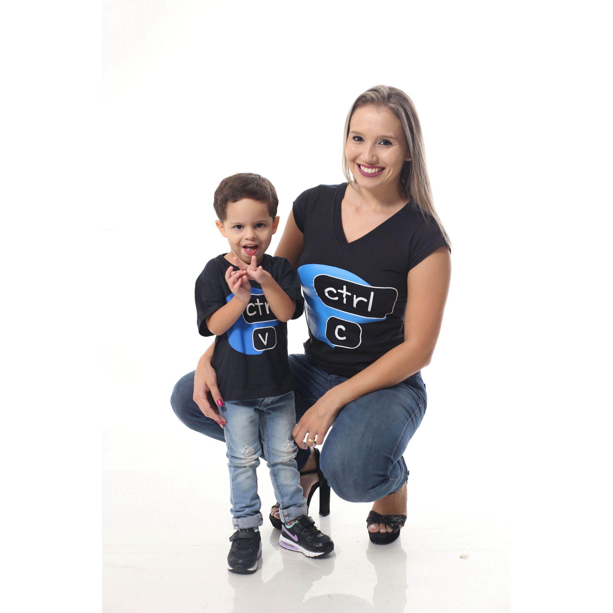 MÃE E FILHO > Kit Camisetas Pretas CTRL-C & CTRL-V [Coleção Tal Mãe Tal Filho]  - Heitor Fashion Brazil