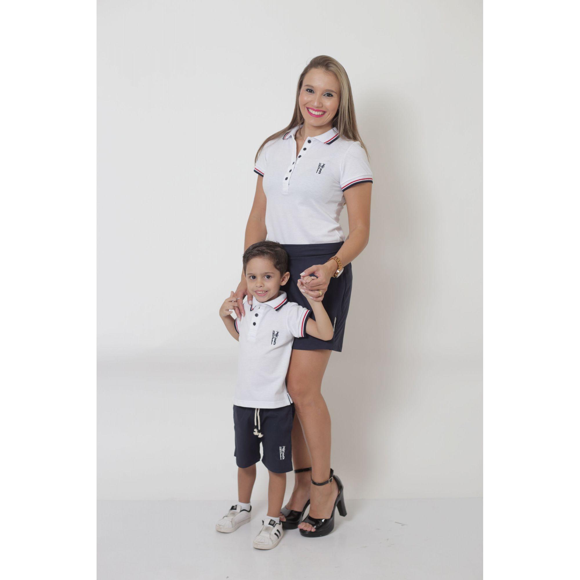 MÃE E FILHO > Kit - Shorts Saia + Bermuda Infantil - Azul Marinho [Coleção Tal Mãe Tal Filho]