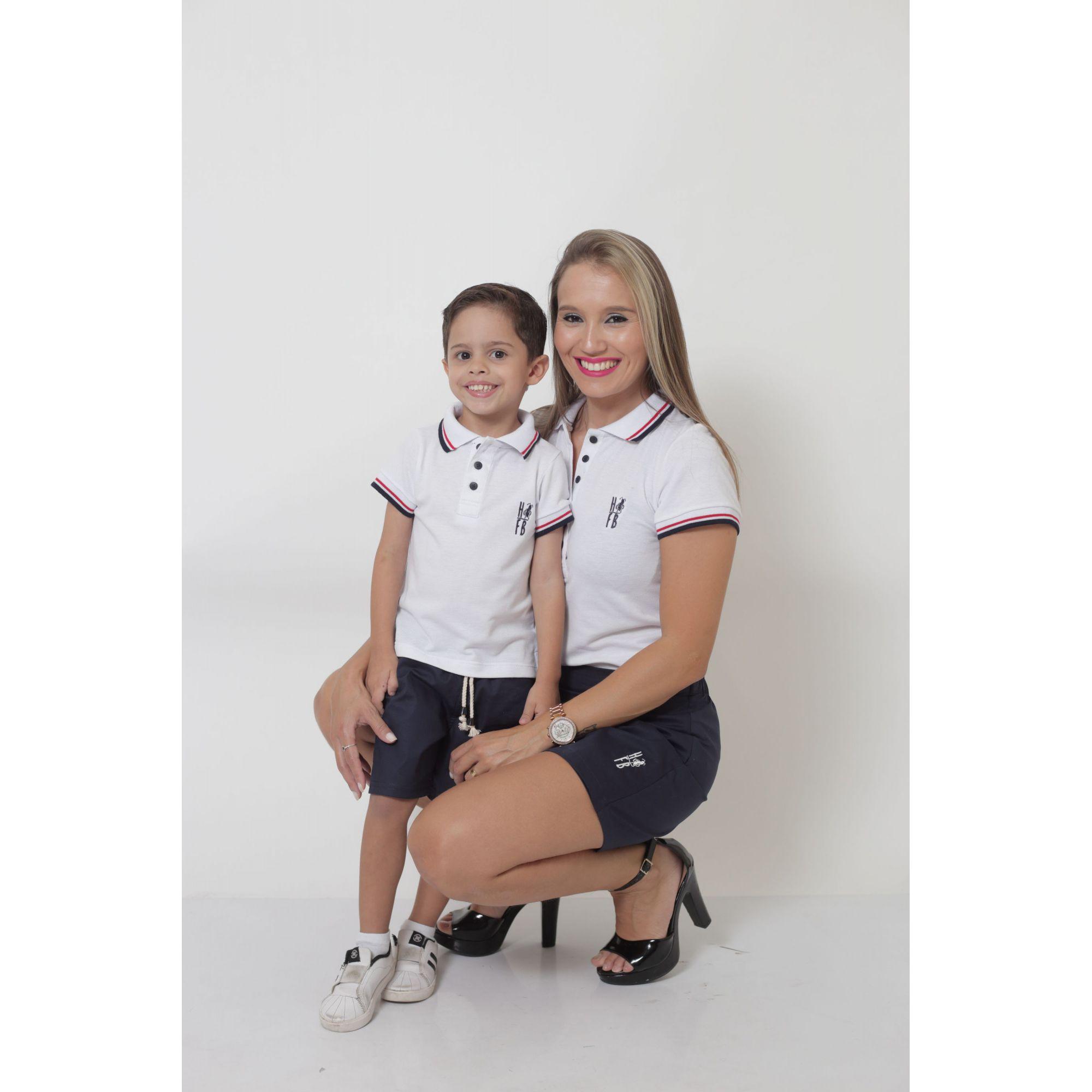 MÃE E FILHO > Kit - Shorts Saia + Bermuda Infantil - Azul Marinho [Coleção Tal Mãe Tal Filho]  - Heitor Fashion Brazil
