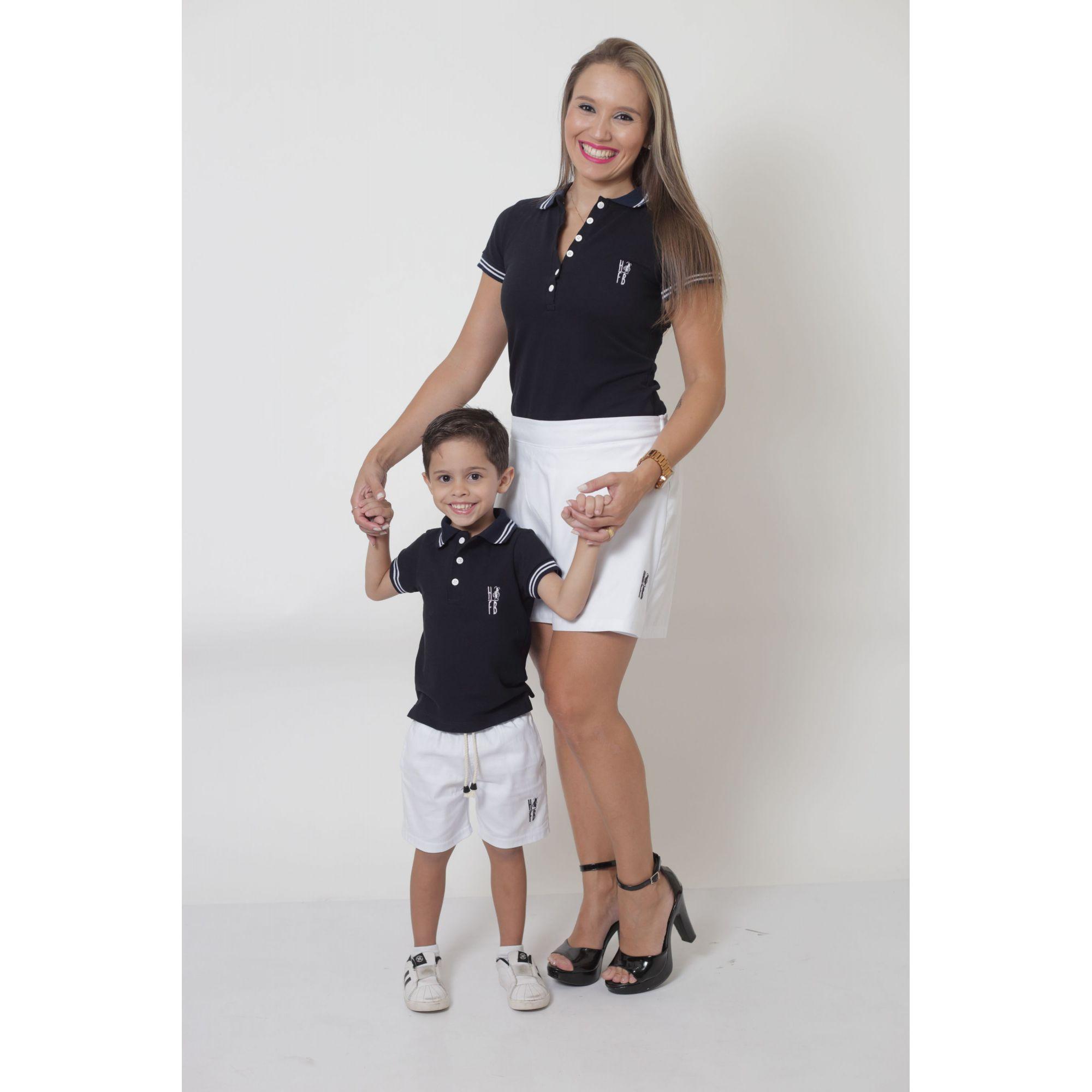 MÃE E FILHO > Kit - Shorts Saia + Bermuda Infantil - Branca [Coleção Tal Mãe Tal Filho]