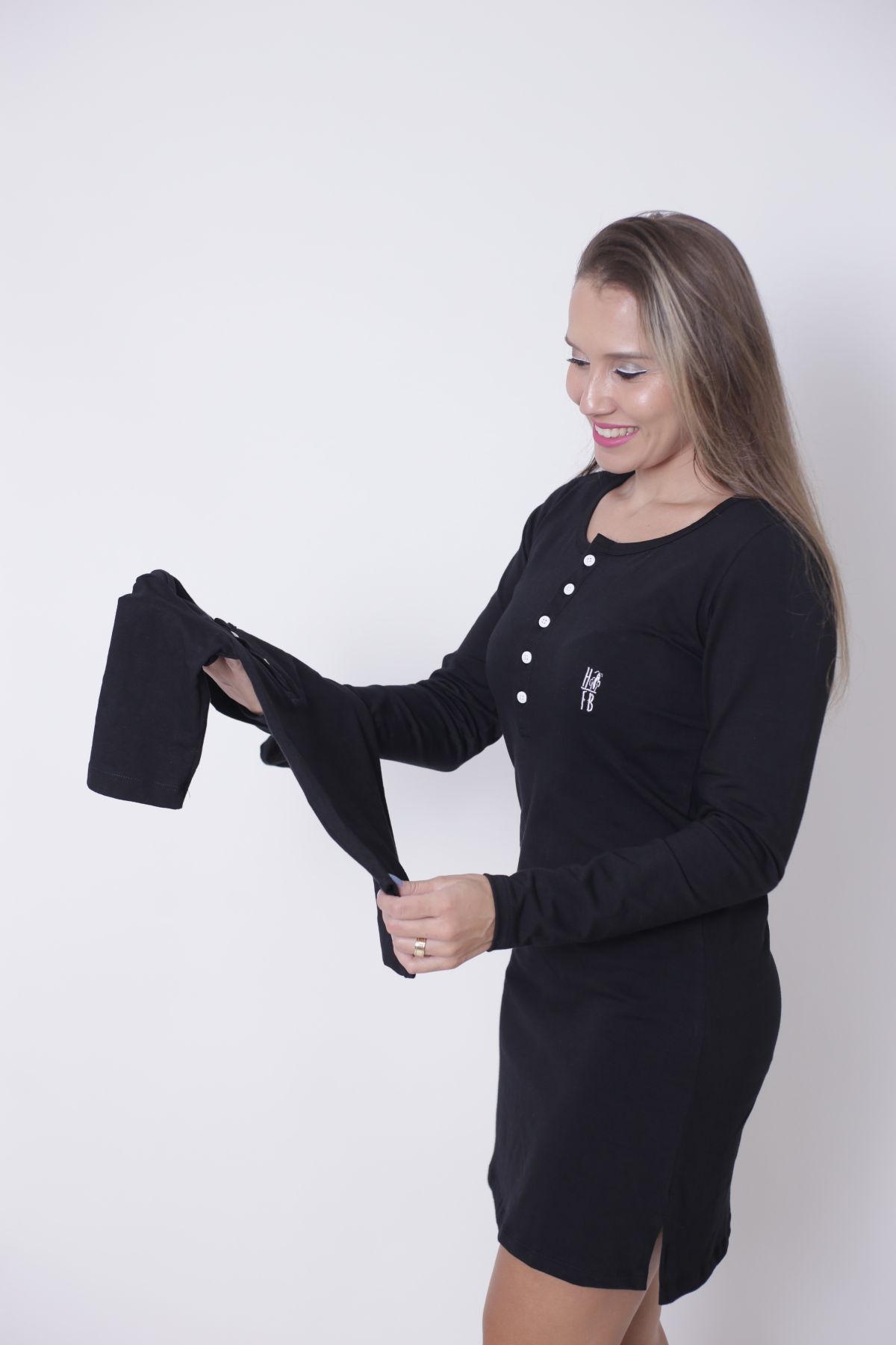 MÃE E FILHO > Kit Vestido + Body Infantil Unissex - Henley - Preto Manga Longa [Coleção Tal Mãe Tal Filho]  - Heitor Fashion Brazil
