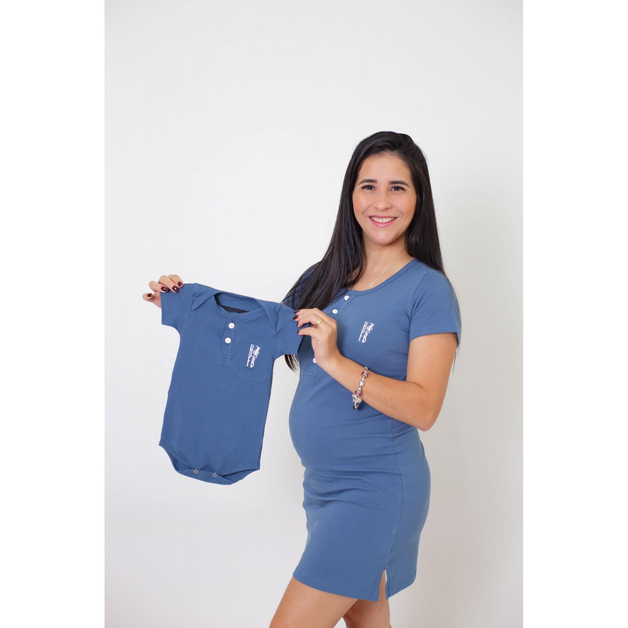 MÃE E FILHOS > Kit Vestido + Body Unissex Infantil - Henley - Azul Petróleo [Coleção Tal Mãe Tal Filhos]