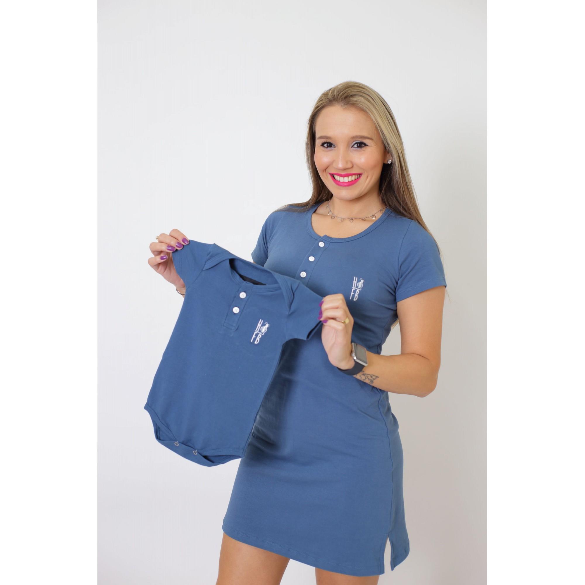 MÃE E FILHOS > Kit Vestido + Body Unissex Infantil - Henley - Azul Petróleo [Coleção Tal Mãe Tal Filhos]  - Heitor Fashion Brazil