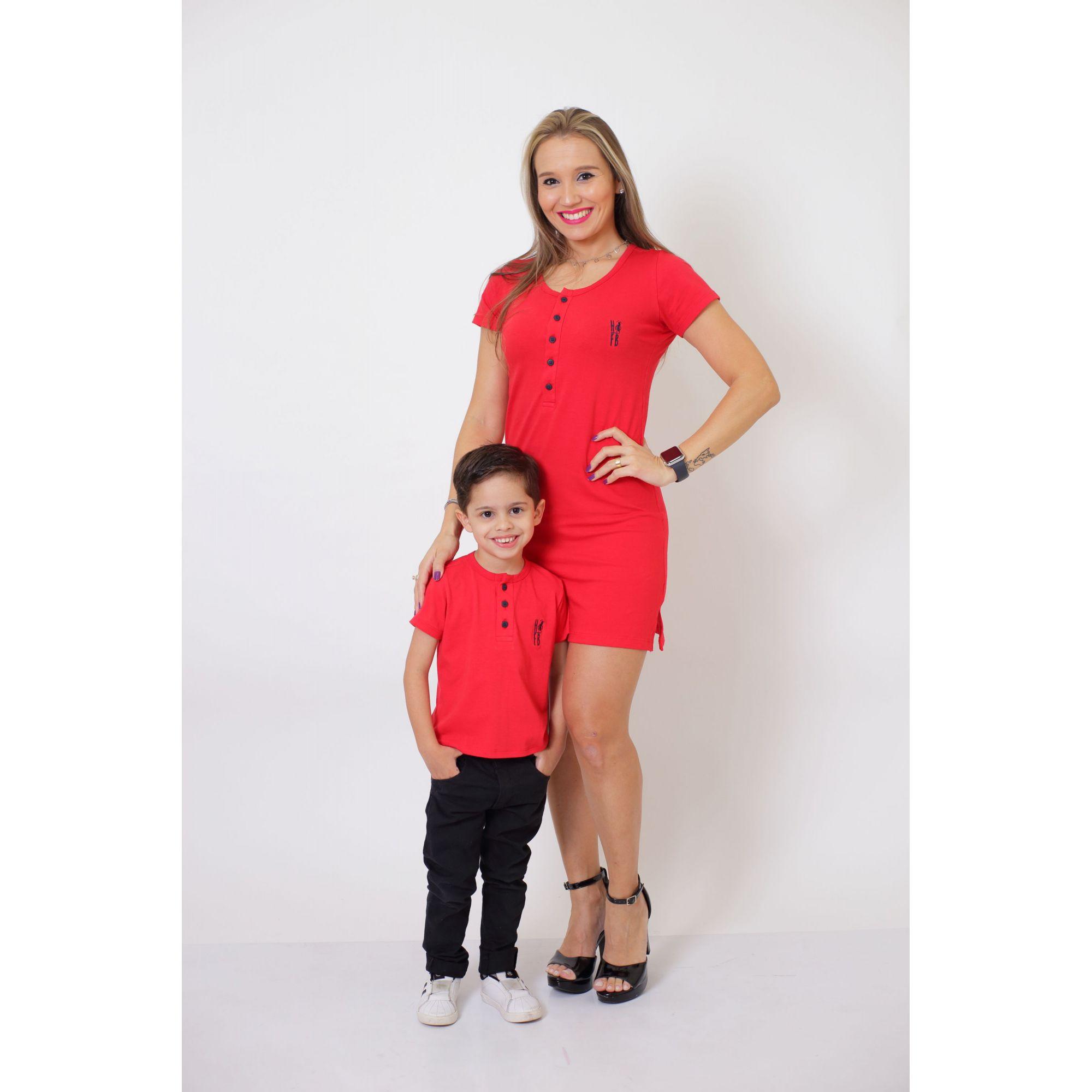 MÃE E FILHO > Kit Vestido + T-shirt Unissex ou Body Infantil - Henley - Vermelho [Coleção Tal Mãe Tal Filho]