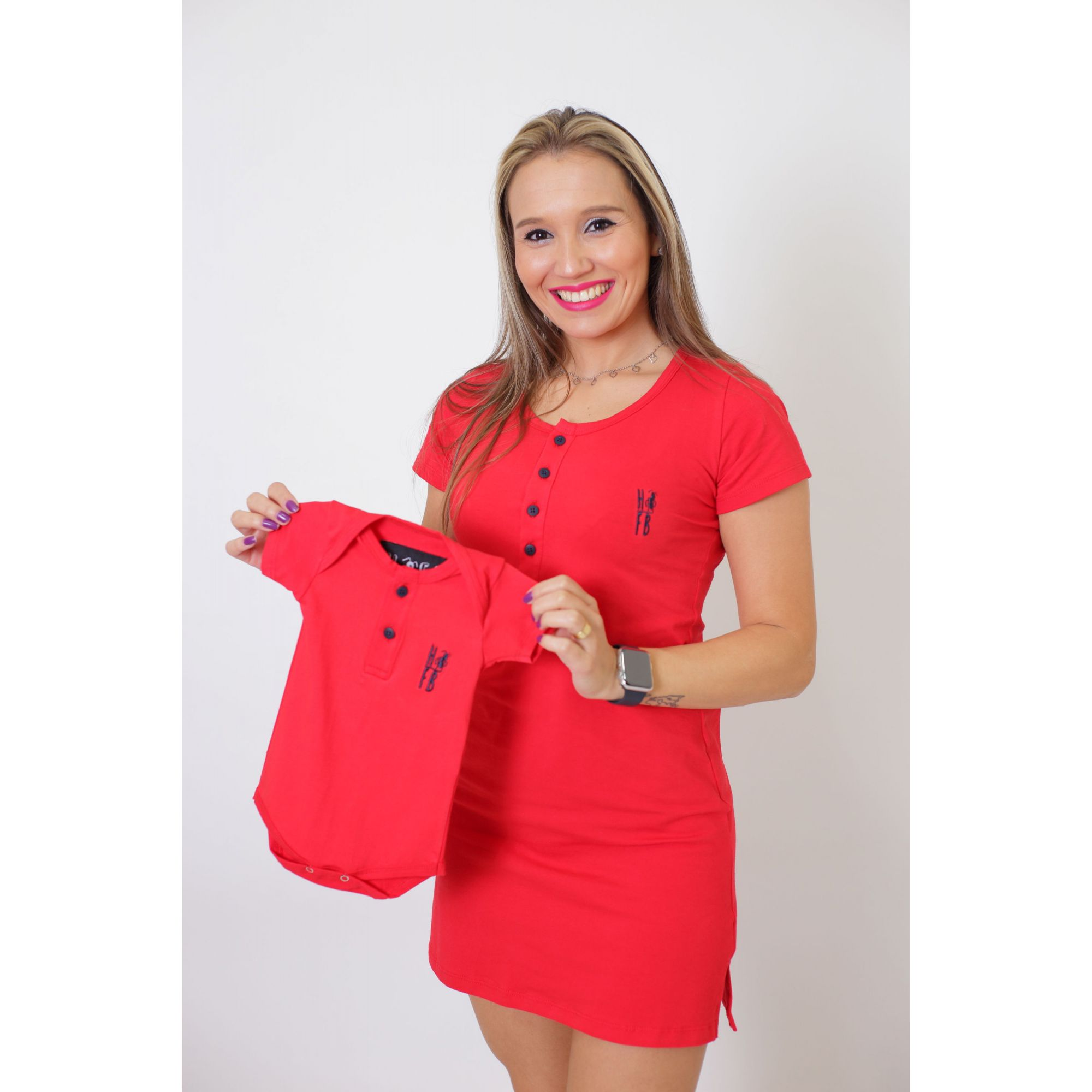 MÃE E FILHO > Kit Vestido + T-shirt Unissex ou Body Infantil - Henley - Vermelho [Coleção Tal Mãe Tal Filho]  - Heitor Fashion Brazil
