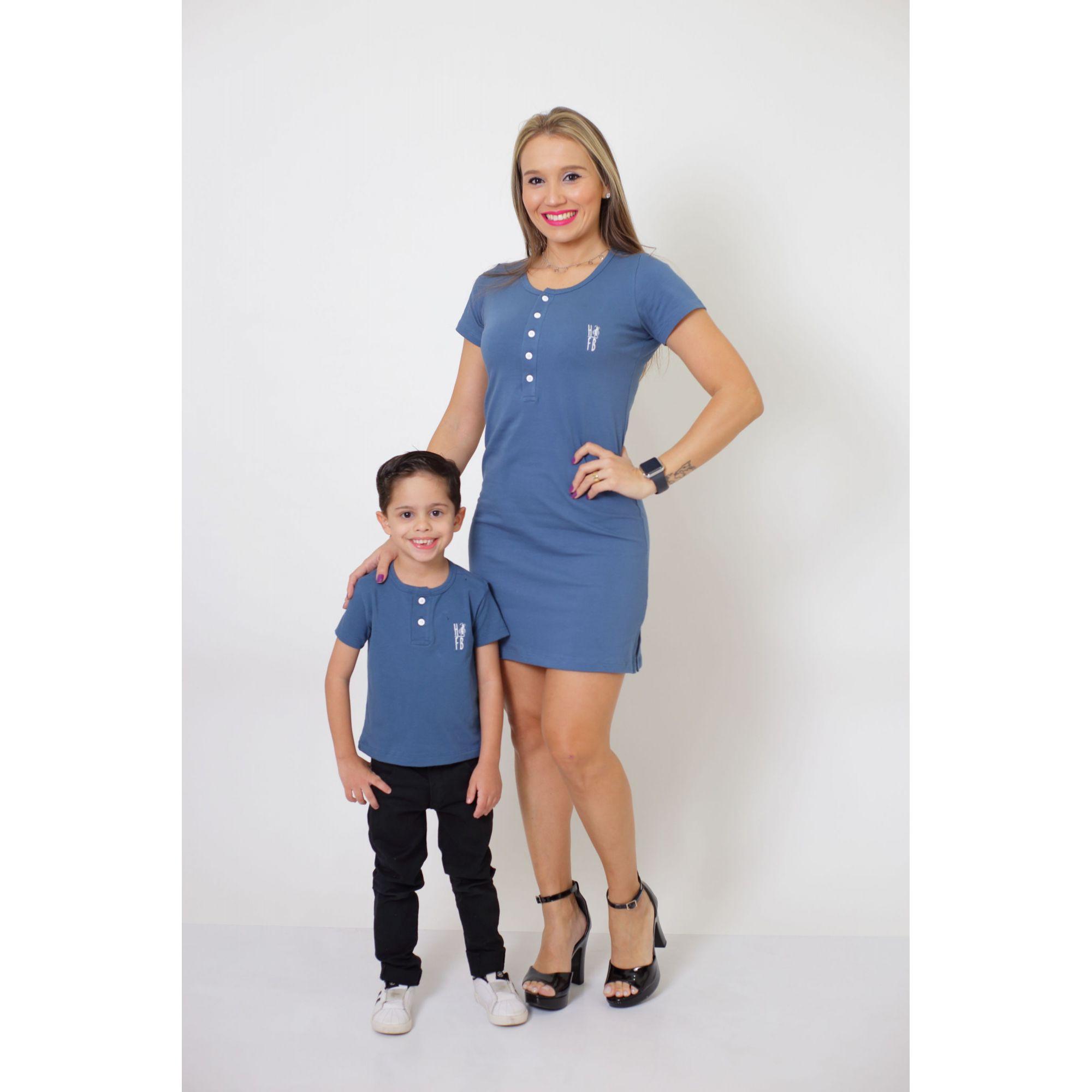 MÃE E FILHO > Kit Vestido + T-shirt Unissex ou Body Infantil - Henley - Azul Petróleo [Coleção Tal Mãe Tal Filho]