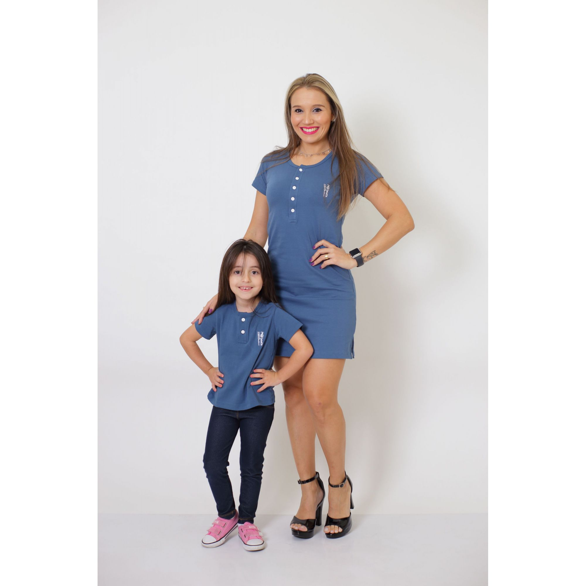 MÃE E FILHO > Kit Vestido + T-shirt Unissex ou Body Infantil - Henley - Azul Petróleo [Coleção Tal Mãe Tal Filho]  - Heitor Fashion Brazil