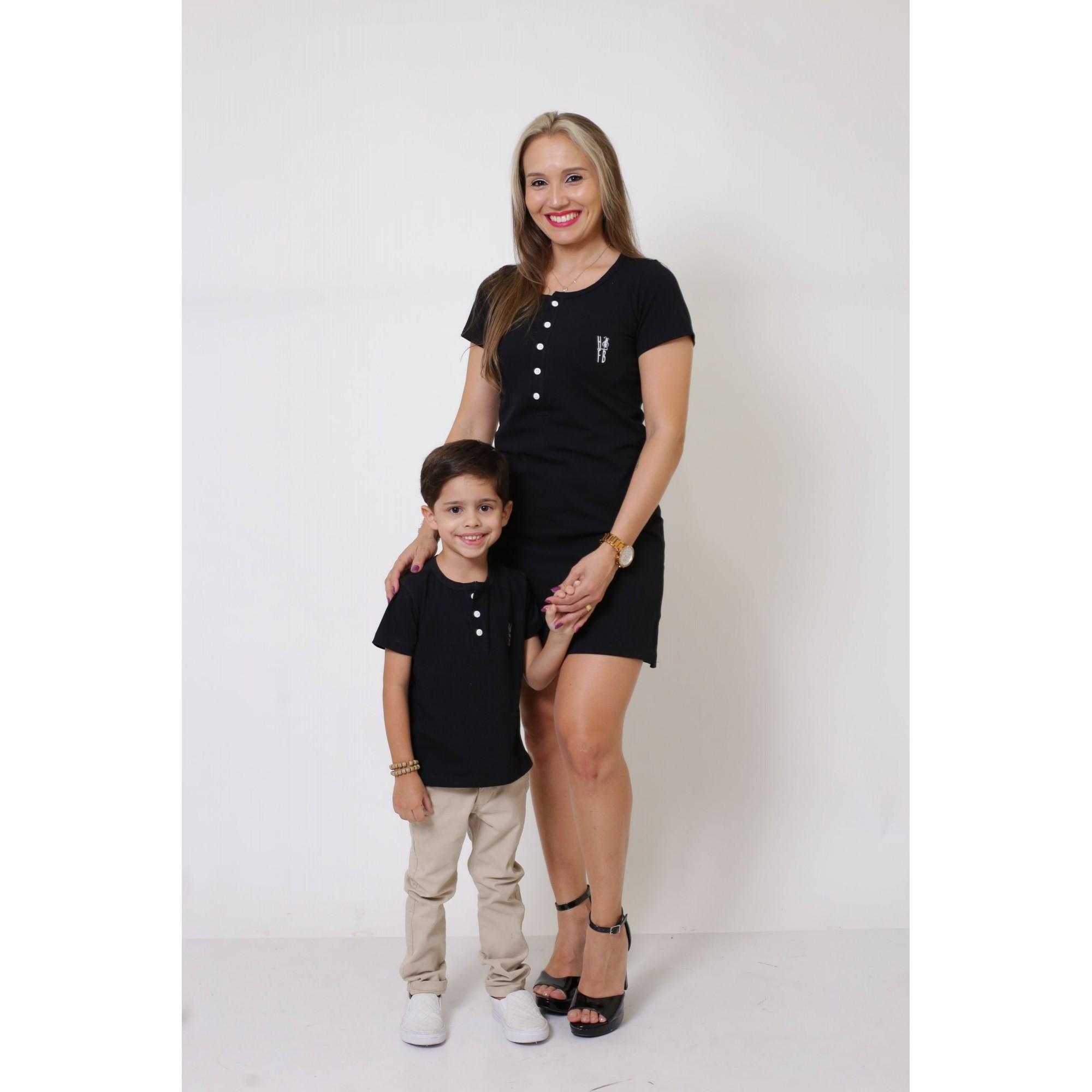 MÃE E FILHO > Kit Vestido + T-shirt Unissex ou Body Infantil - Henley - Preto [Coleção Tal Mãe Tal Filho]