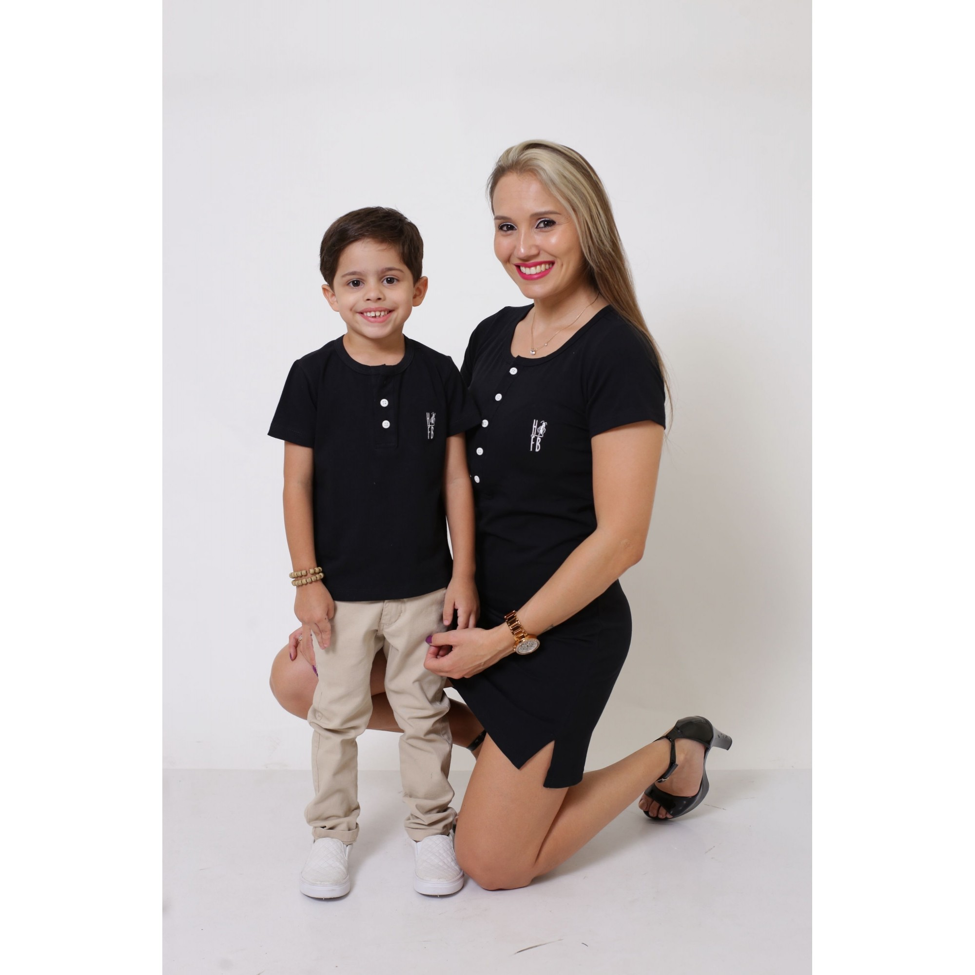 MÃE E FILHO > Kit Vestido + T-shirt Unissex ou Body Infantil - Henley - Preto [Coleção Tal Mãe Tal Filho]  - Heitor Fashion Brazil